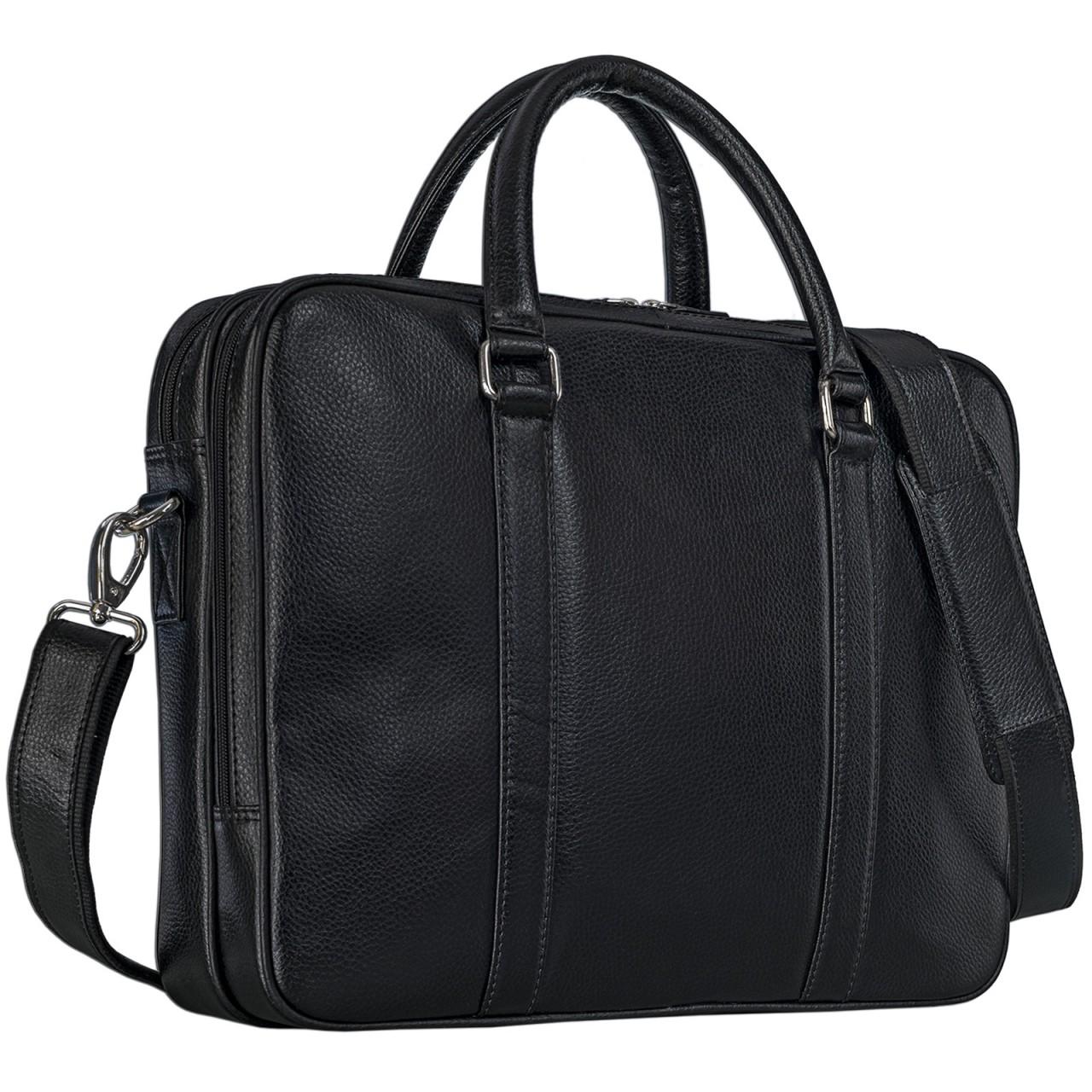 Office Businesstasche für Herren Damen schwarz Leder elegant