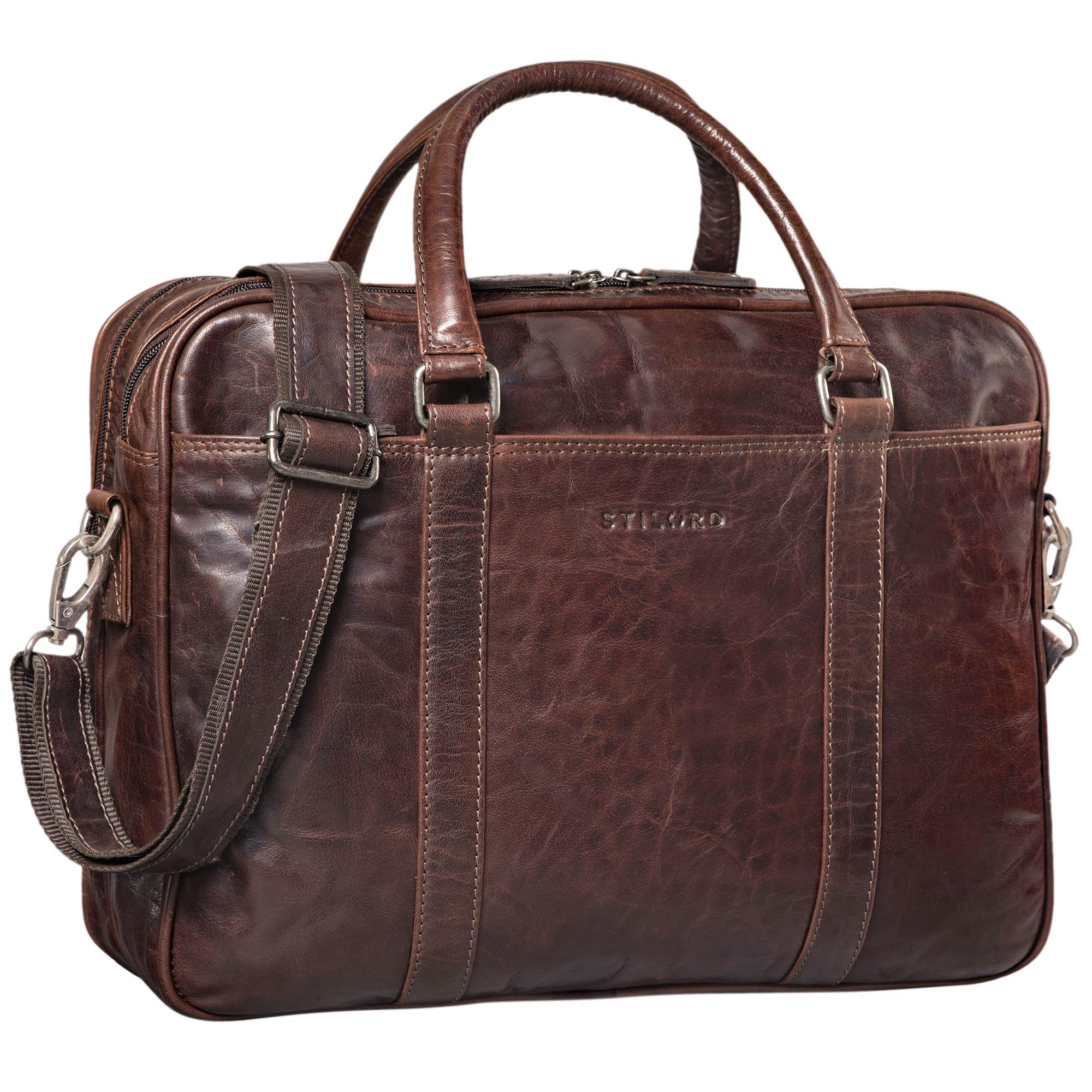 """STILORD """"Dante"""" Businesstasche Leder groß elegante Aktentasche Umhängetasche Schultertasche 15.6 Zoll Office Büro echtes Rindsleder  - Bild 15"""
