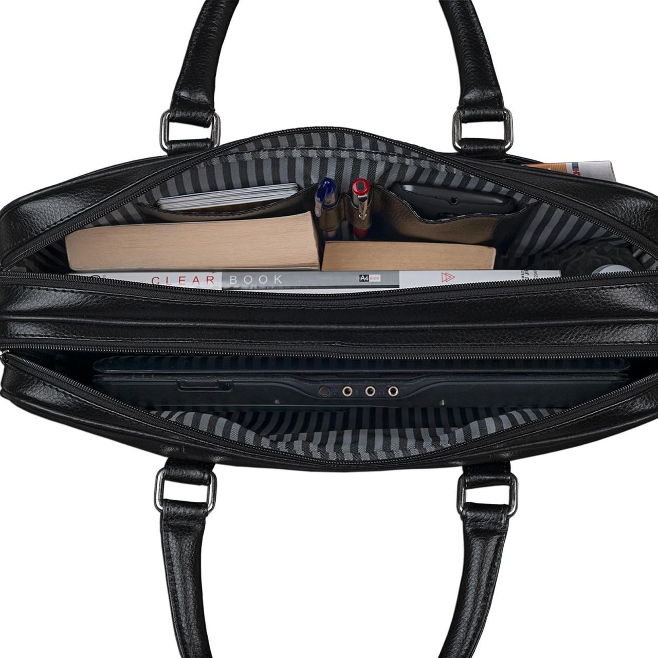 Vintage Businesstasche aus Rindsleder Henkel Gurt schwarz Bürotasche