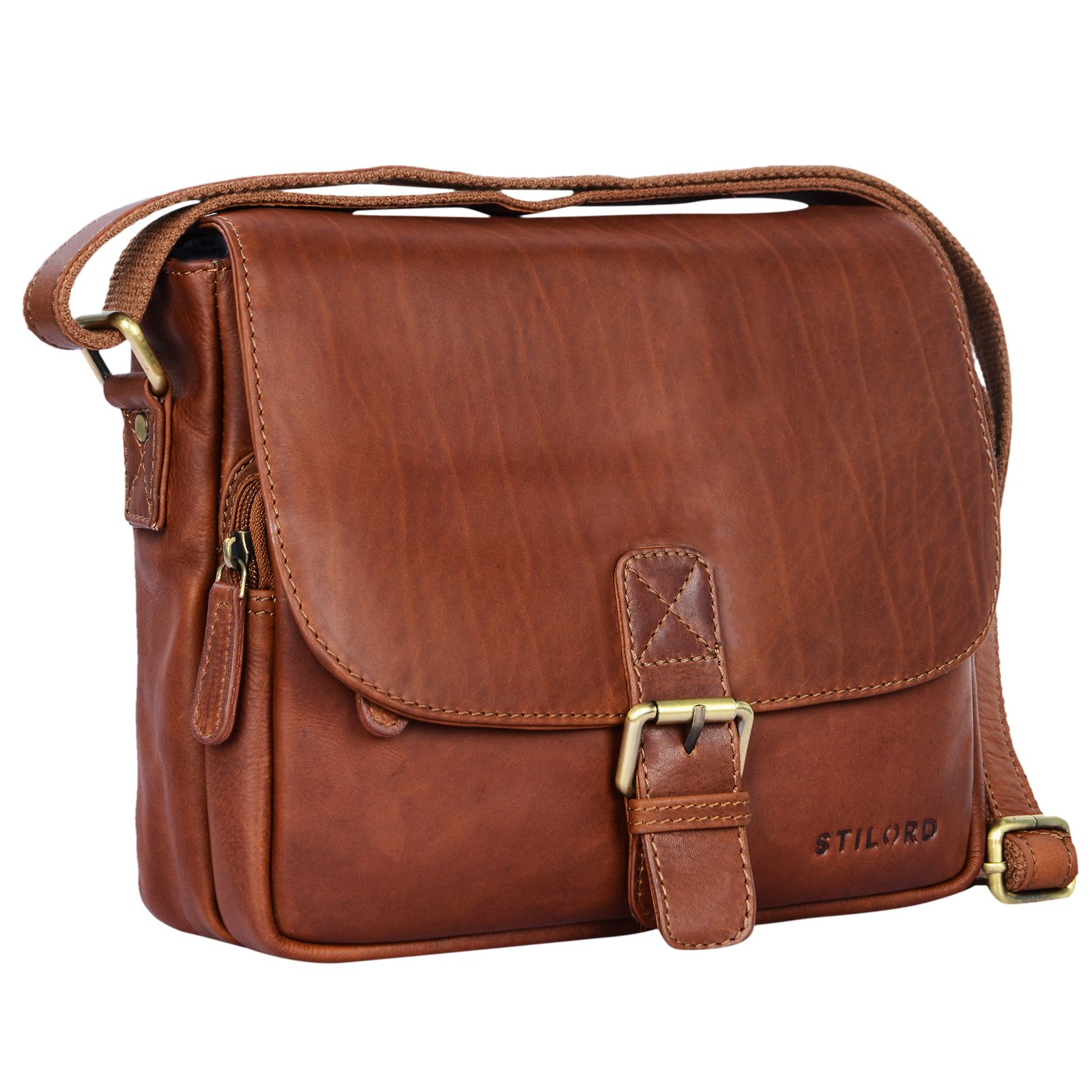 """STILORD """"Lucian"""" Vintage Umhängetasche Leder klein für Herren und Damen braune Schultertasche für 10.1 Zoll Tablet iPad DIN A5 Handtasche aus echtem Leder - Bild 9"""