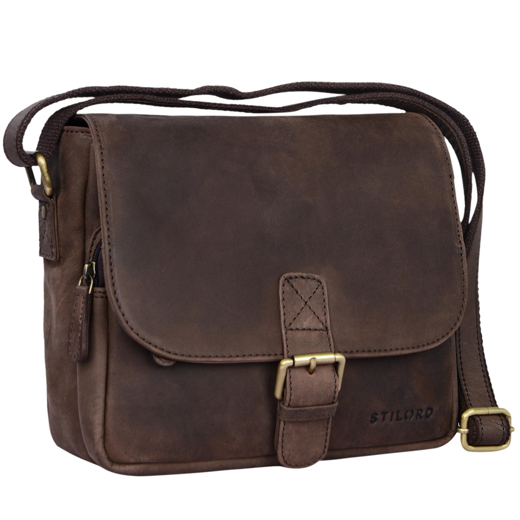 """STILORD """"Lucian"""" Vintage Umhängetasche Leder klein für Herren und Damen braune Schultertasche für 10.1 Zoll Tablet iPad DIN A5 Handtasche aus echtem Leder - Bild 8"""