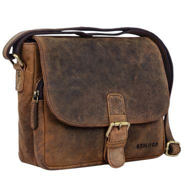 """STILORD """"Lucian"""" Vintage Umhängetasche Leder klein für Herren und Damen braune Schultertasche für 10.1 Zoll Tablet iPad DIN A5 Handtasche aus echtem Leder Farbe: colorado - braun"""