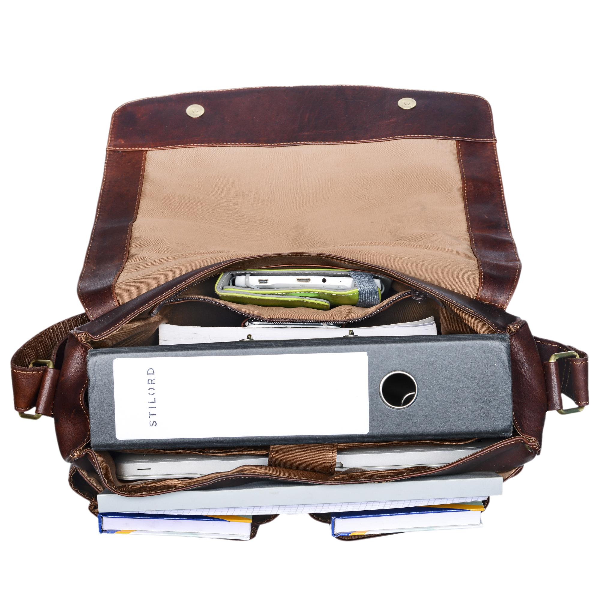 """STILORD """"Leonardo"""" Herren Ledertasche Umhängetasche Vintage große Businesstasche für Büro Arbeit Uni mit 15.6 Zoll Laptopfach aus echtem Büffel Leder - Bild 12"""