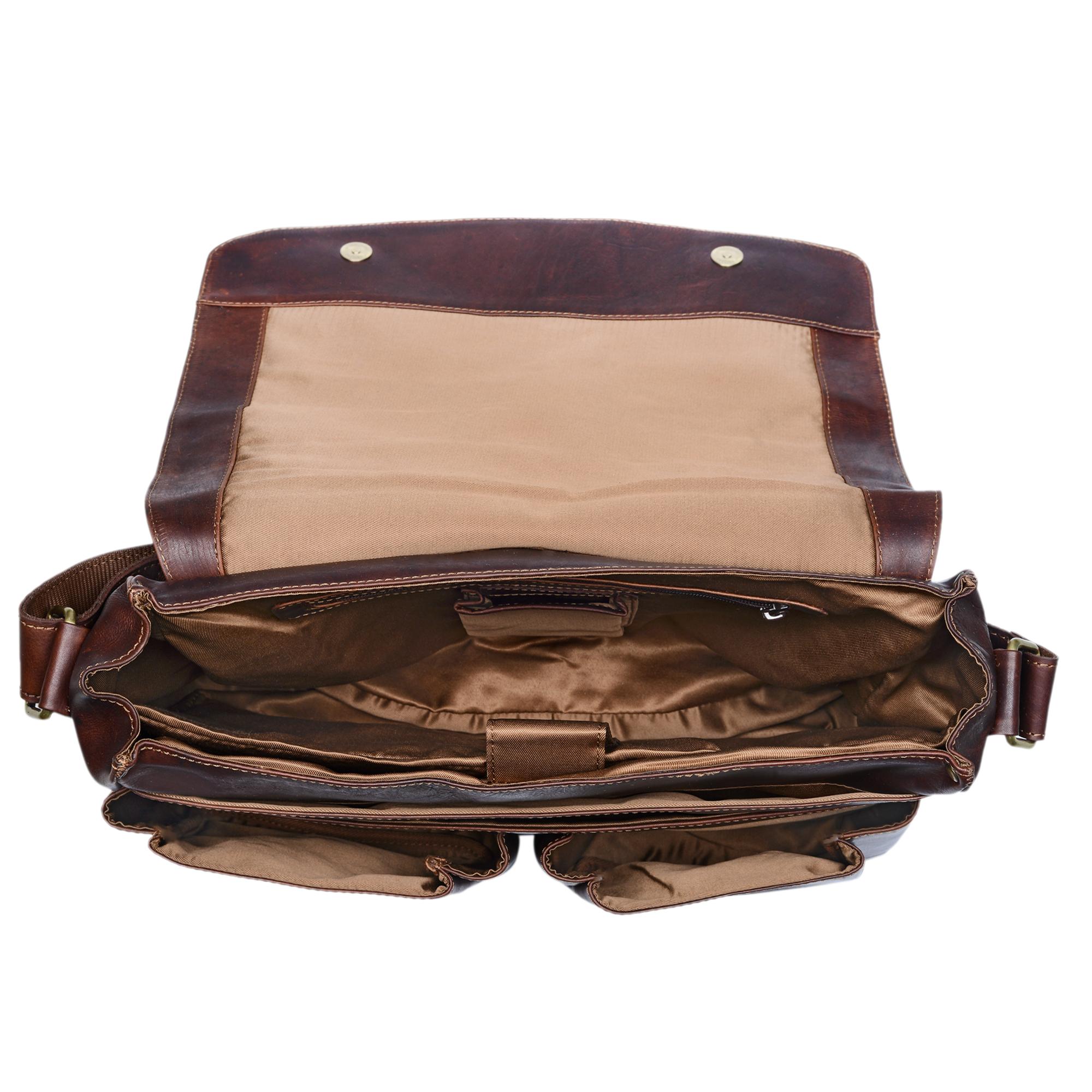 """STILORD """"Leonardo"""" Herren Ledertasche Umhängetasche Vintage große Businesstasche für Büro Arbeit Uni mit 15.6 Zoll Laptopfach aus echtem Büffel Leder - Bild 11"""