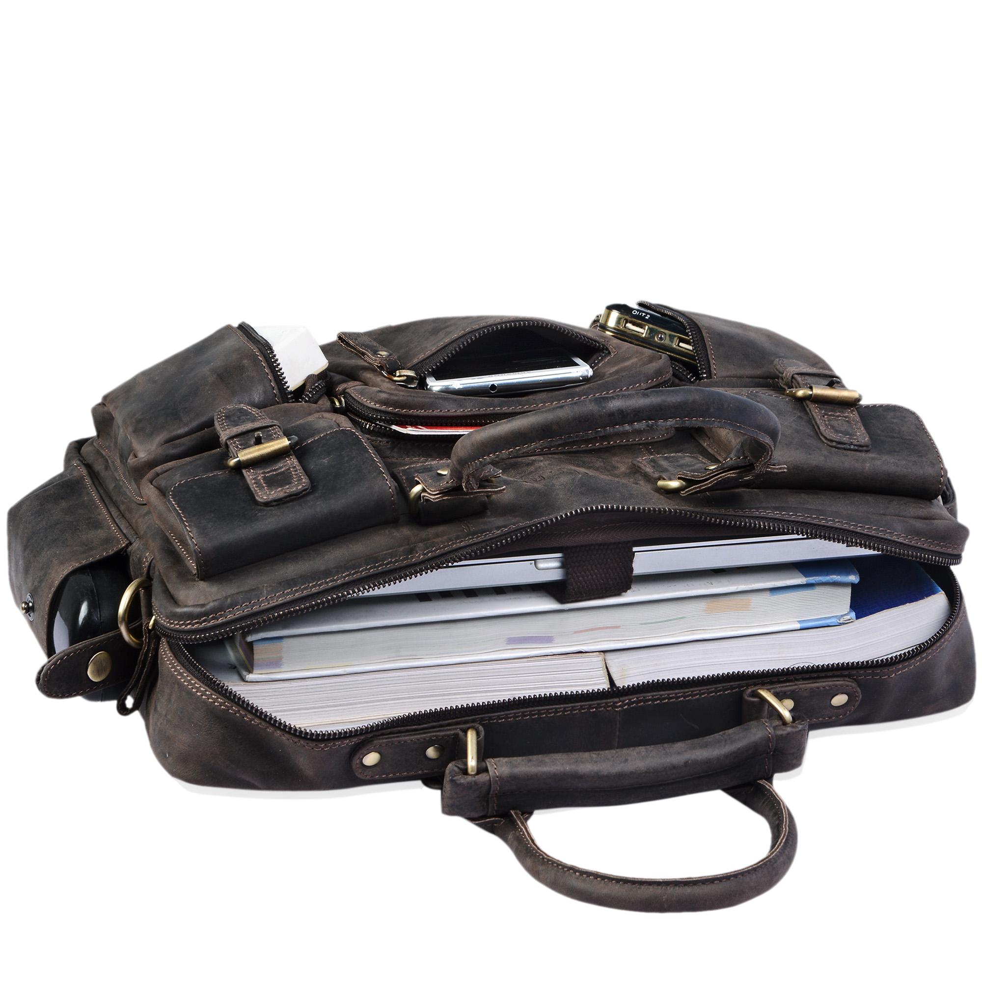 Lehrertasche Leder groß dunkelbraun