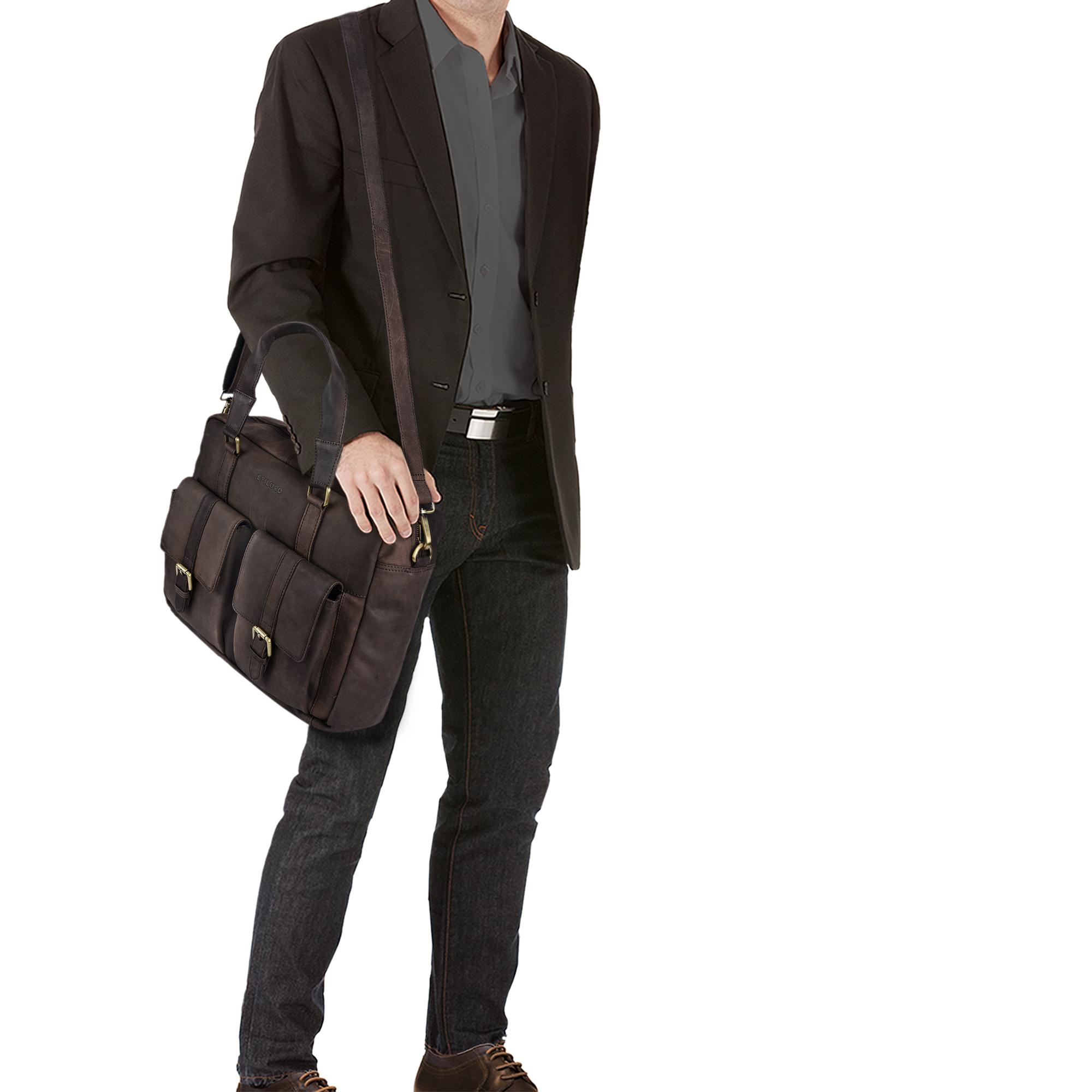 """STILORD """"Vitus"""" Ledertasche Männer Frauen braun tragbar als Vintage Umhängetasche große Handtasche mit 15.6 Zoll Laptopfach ideal als College Bag Bürotasche Aktentasche - Bild 16"""