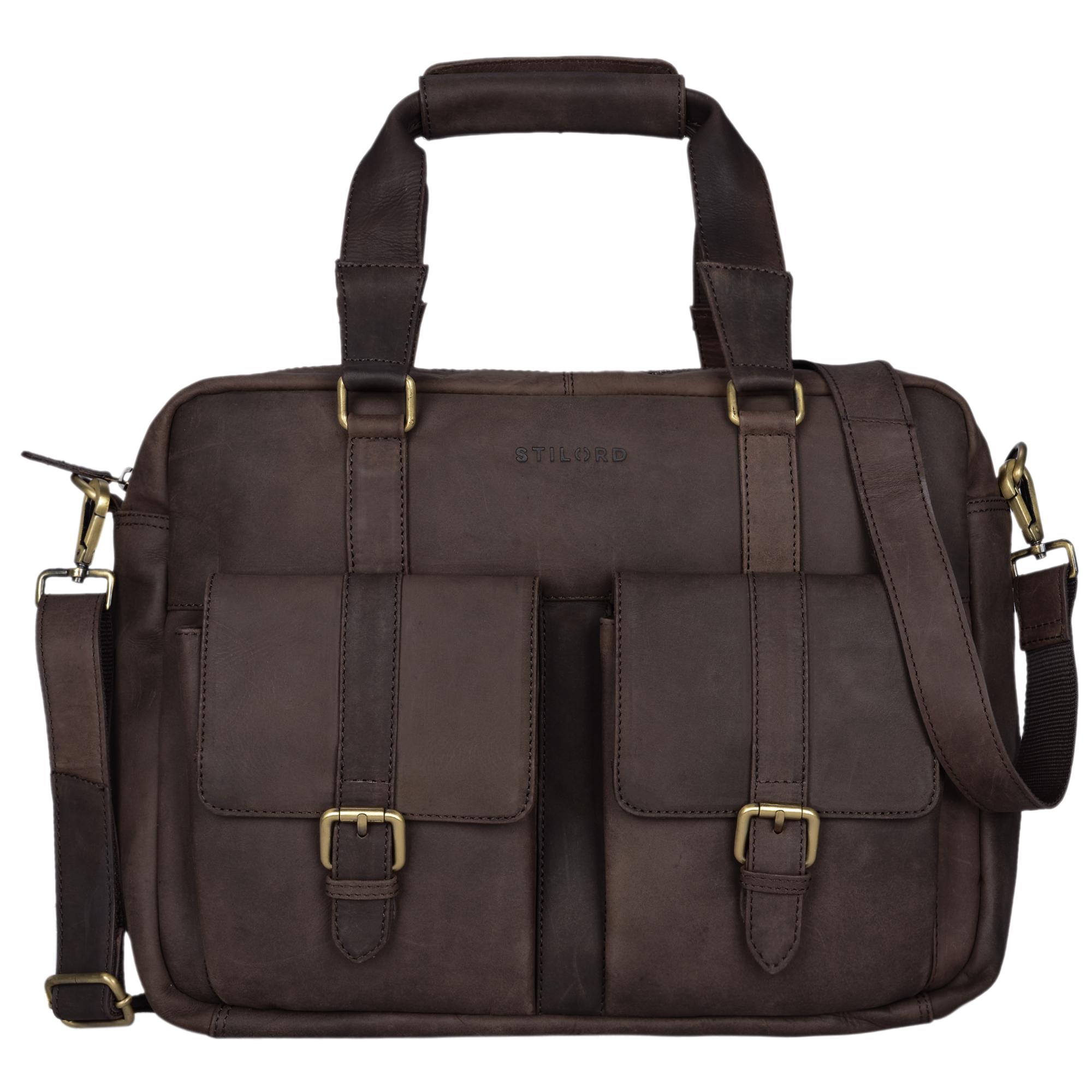 """STILORD """"Vitus"""" Ledertasche Männer Frauen braun tragbar als Vintage Umhängetasche große Handtasche mit 15.6 Zoll Laptopfach ideal als College Bag Bürotasche Aktentasche - Bild 17"""