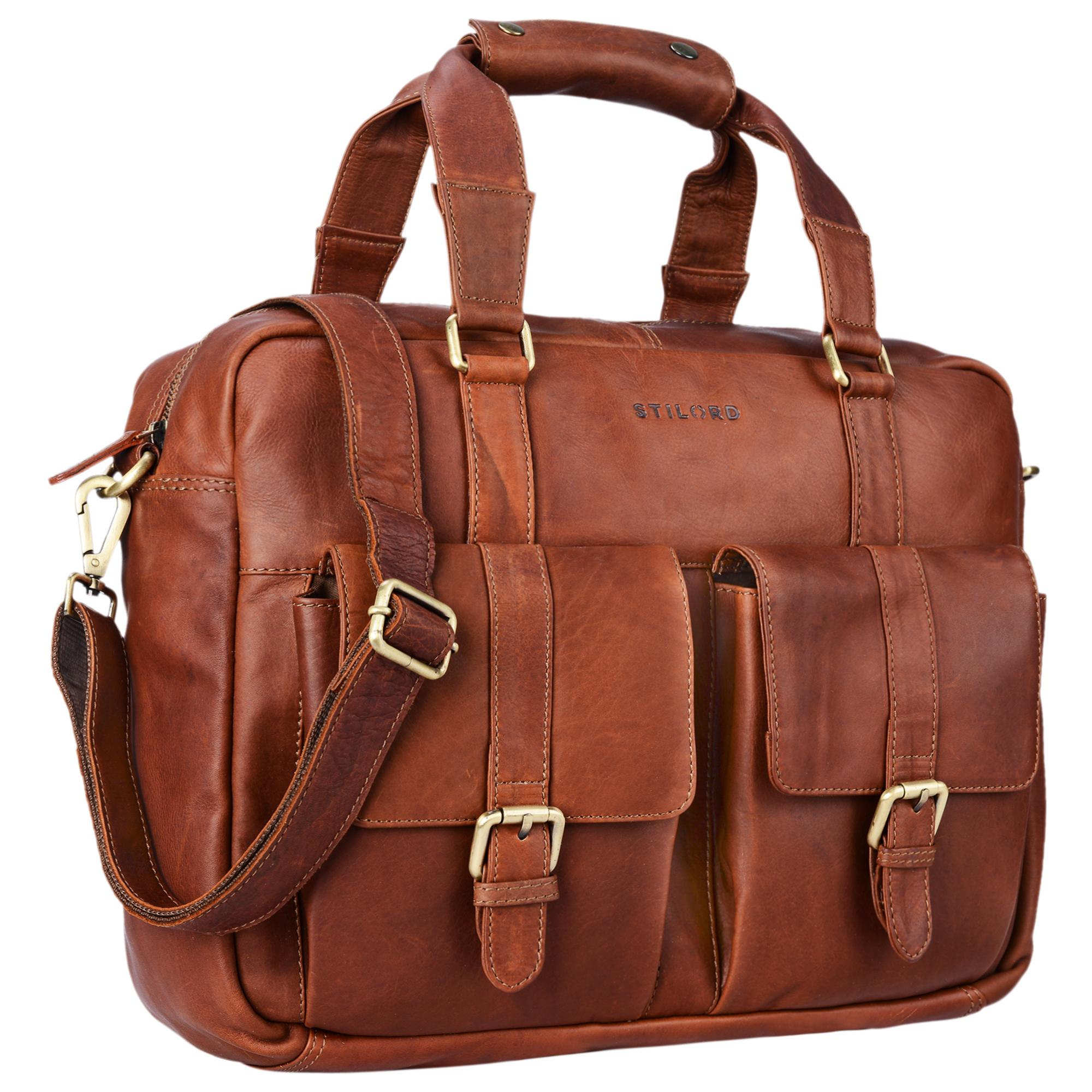 """STILORD """"Vitus"""" Ledertasche Männer Frauen braun tragbar als Vintage Umhängetasche große Handtasche mit 15.6 Zoll Laptopfach ideal als College Bag Bürotasche Aktentasche - Bild 8"""