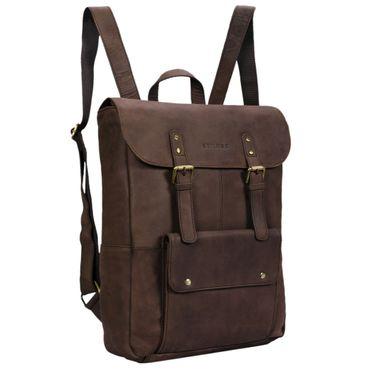 "STILORD ""Manila"" Vintage Leder Rucksack Damen Herren XL Lederrucksack DIN A4 braune Rucksackhandtasche mit 15,6 Zoll Laptopfach großer Daypack aus echtem Leder Farbe: matt - dunkelbraun"