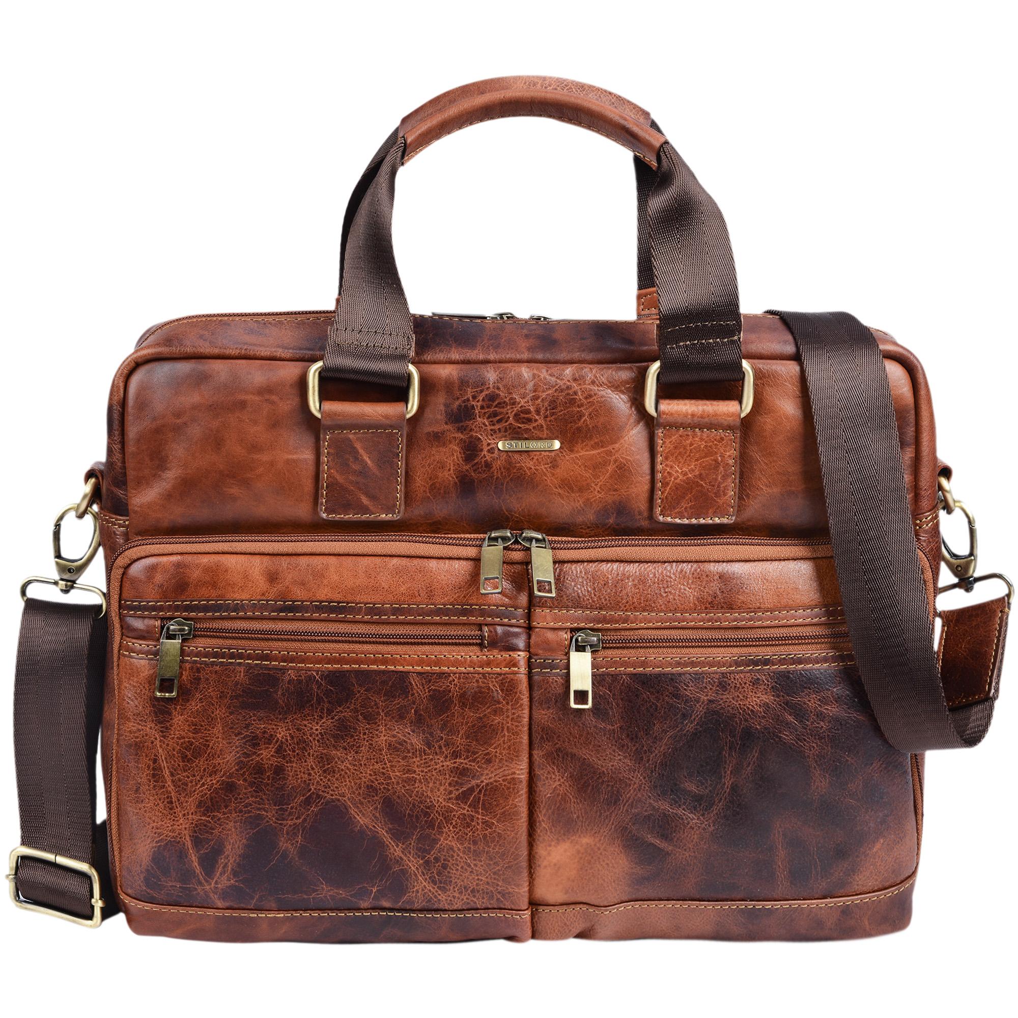 """STILORD """"Vito"""" Vintage Businesstasche Leder Herren Damen 14 Zoll Laptoptasche Umhängetasche Aktentasche Arbeitstasche Rindsleder - Bild 10"""