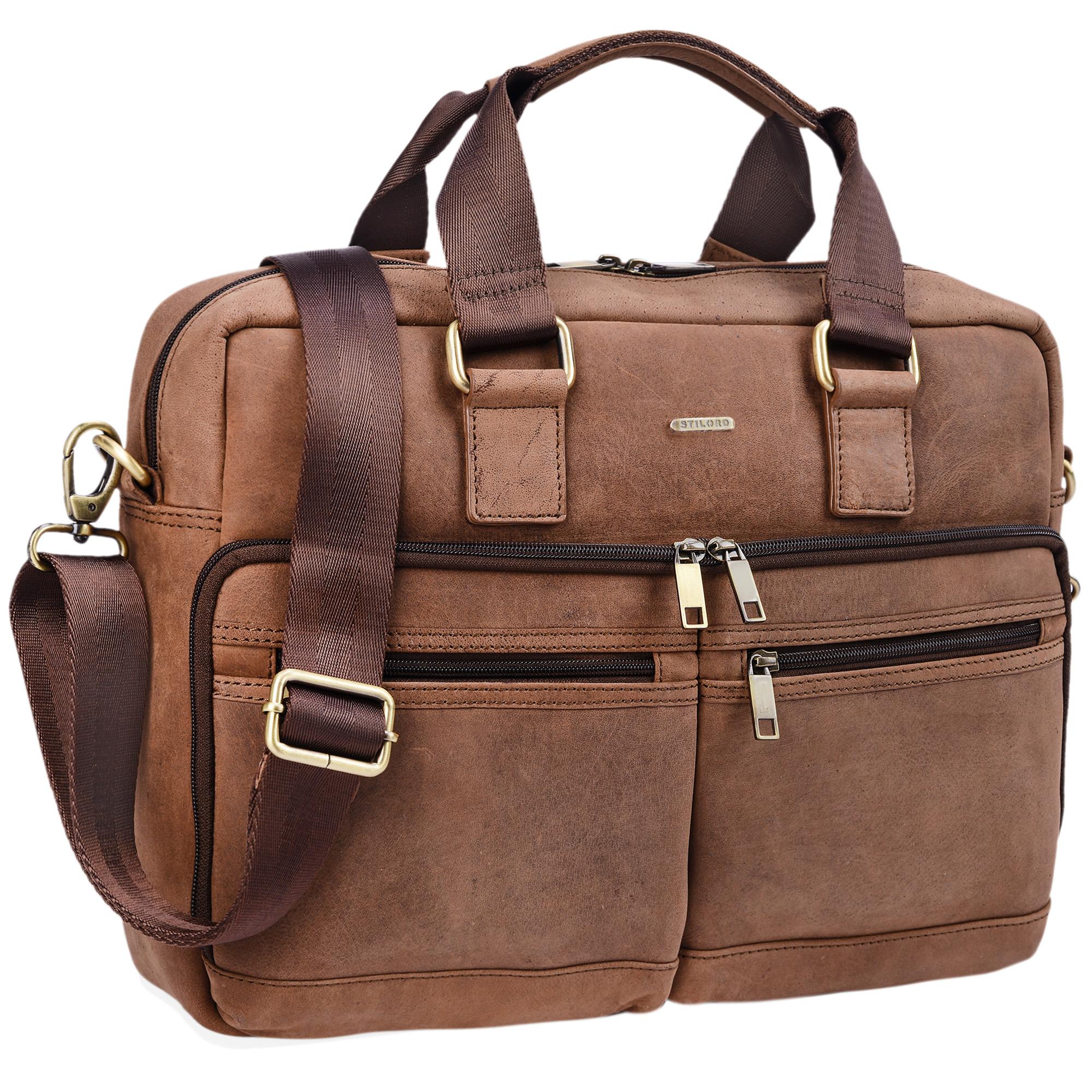 """STILORD """"Vito"""" Vintage Businesstasche Leder Herren Damen 14 Zoll Laptoptasche Umhängetasche Aktentasche Arbeitstasche Rindsleder - Bild 2"""