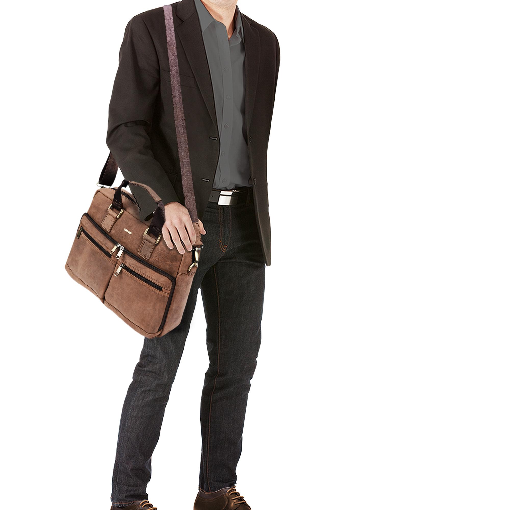 """STILORD """"Vito"""" Vintage Businesstasche Leder Herren Damen 14 Zoll Laptoptasche Umhängetasche Aktentasche Arbeitstasche Rindsleder - Bild 3"""