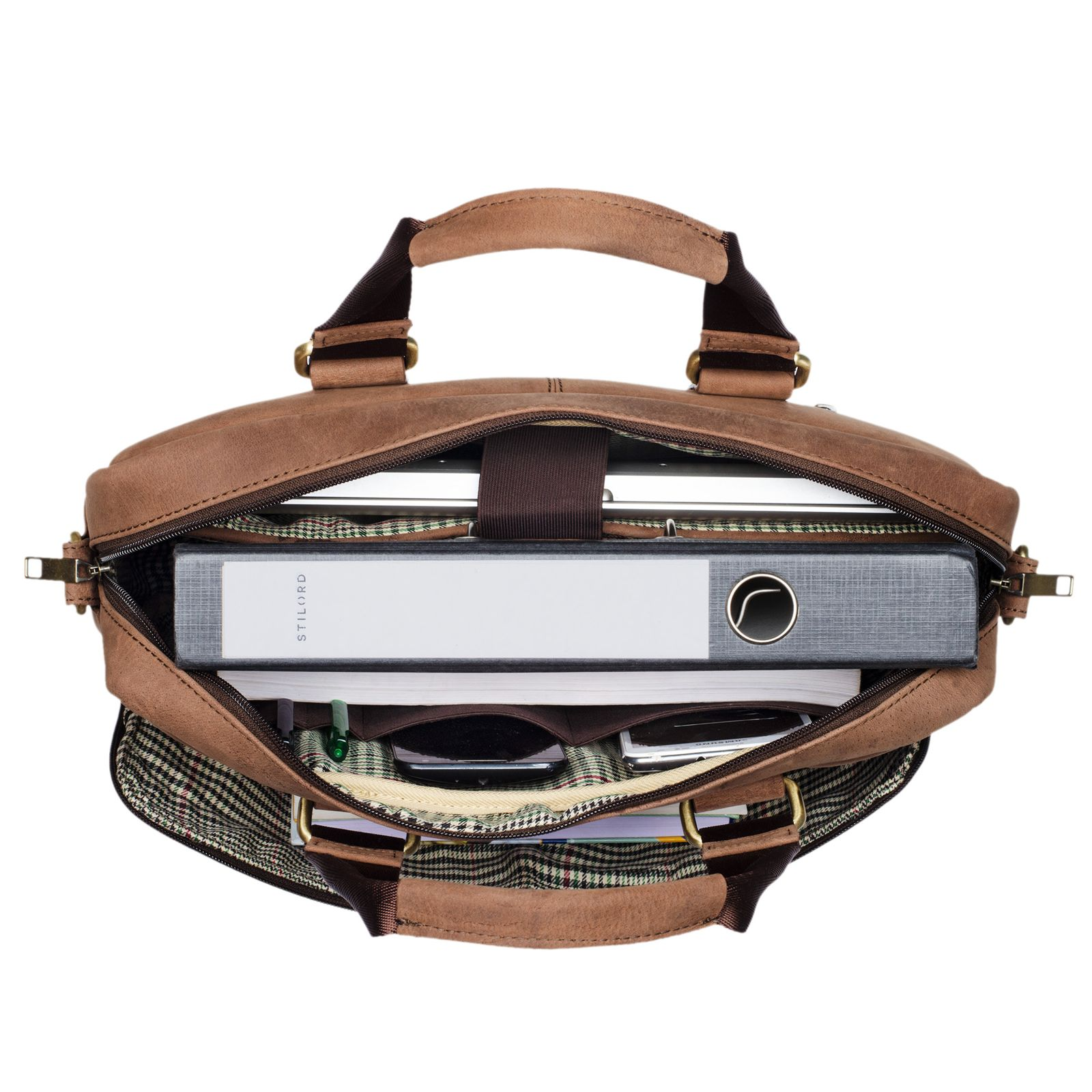 """STILORD """"Vito"""" Vintage Businesstasche Leder Herren Damen 14 Zoll Laptoptasche Umhängetasche Aktentasche Arbeitstasche Rindsleder - Bild 5"""