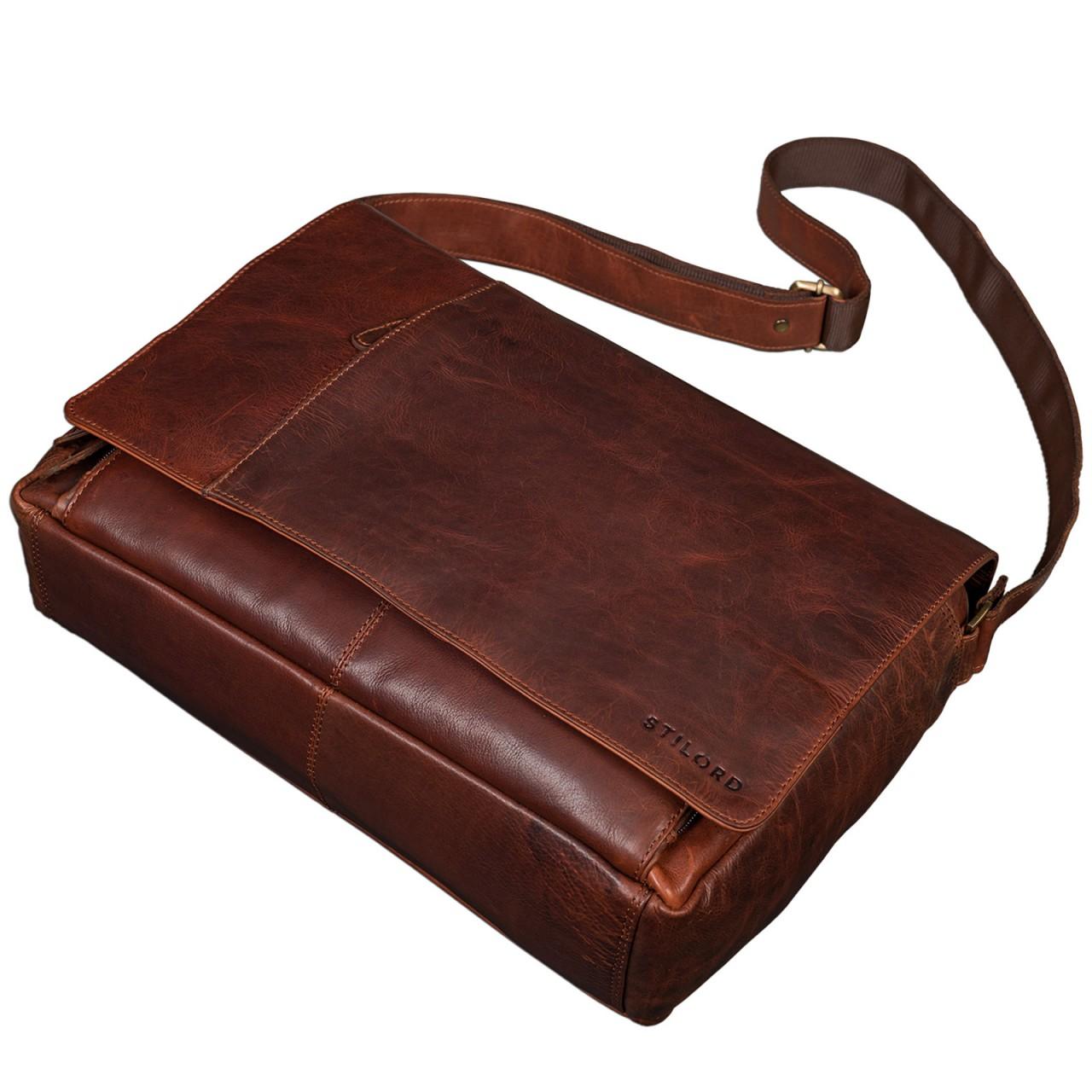 """STILORD B-WARE """"Elias"""" Businesstasche mit Laptopfach 15,6 Zoll Umhängetasche Herren Damen Aktentasche Unitasche Bürotasche Schultertasche Antik Leder braun - Bild 10"""