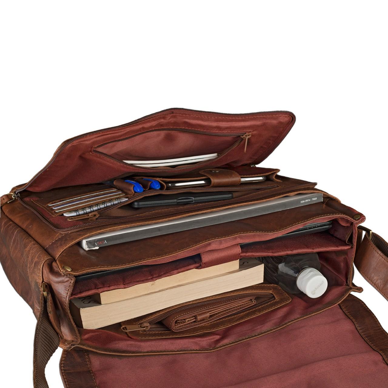 """STILORD B-WARE """"Elias"""" Businesstasche mit Laptopfach 15,6 Zoll Umhängetasche Herren Damen Aktentasche Unitasche Bürotasche Schultertasche Antik Leder braun - Bild 12"""