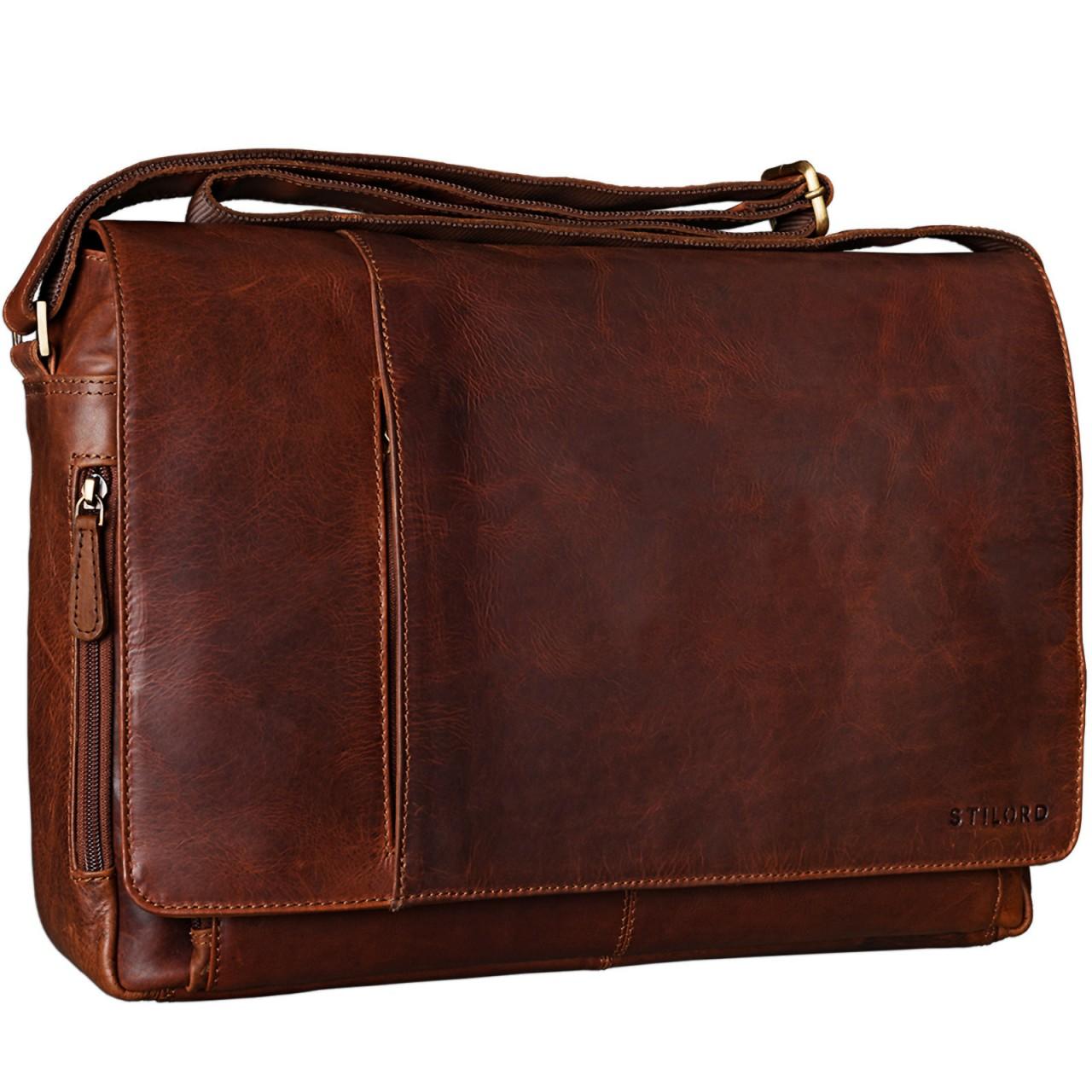 """STILORD B-WARE """"Elias"""" Businesstasche mit Laptopfach 15,6 Zoll Umhängetasche Herren Damen Aktentasche Unitasche Bürotasche Schultertasche Antik Leder braun - Bild 8"""