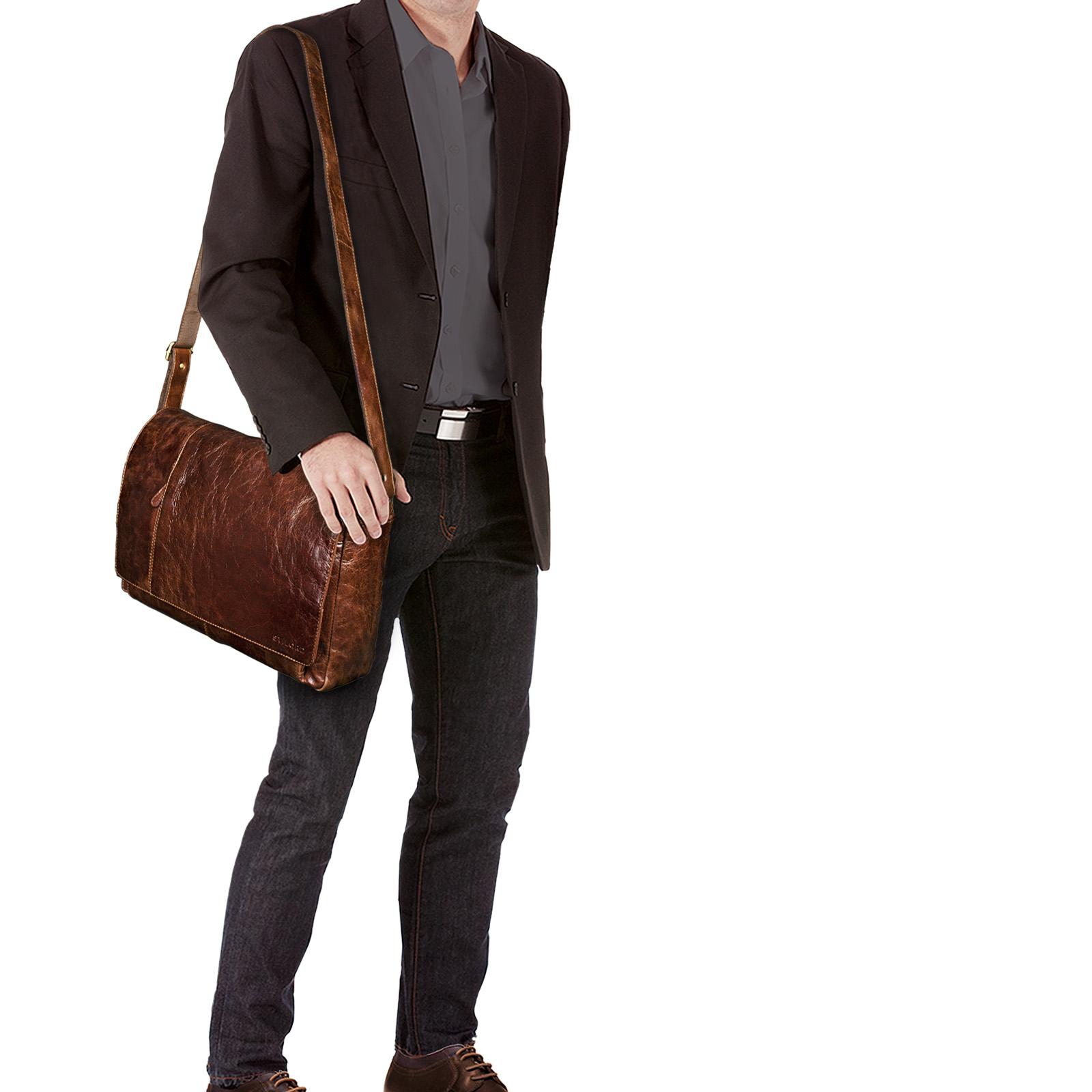 """STILORD B-WARE """"Elias"""" Businesstasche mit Laptopfach 15,6 Zoll Umhängetasche Herren Damen Aktentasche Unitasche Bürotasche Schultertasche Antik Leder braun - Bild 2"""