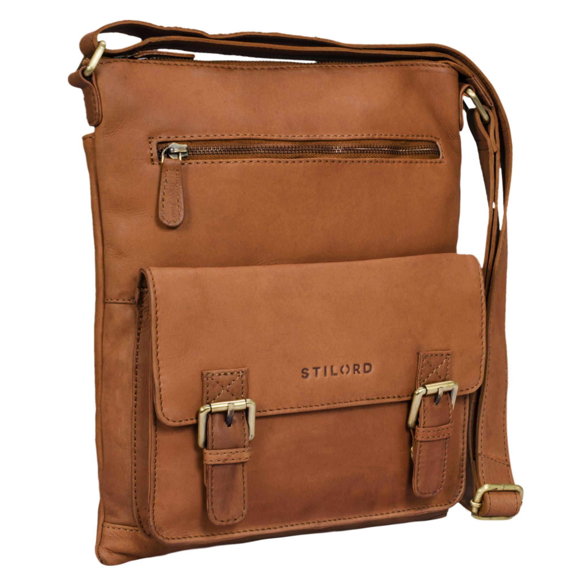 """STILORD """"Mason"""" Vintage Umhängetasche 13 Zoll für Männer Frauen braune Messenger Bag für DIN A4 Dokumente Schultertasche aus echtem Leder - Bild 10"""