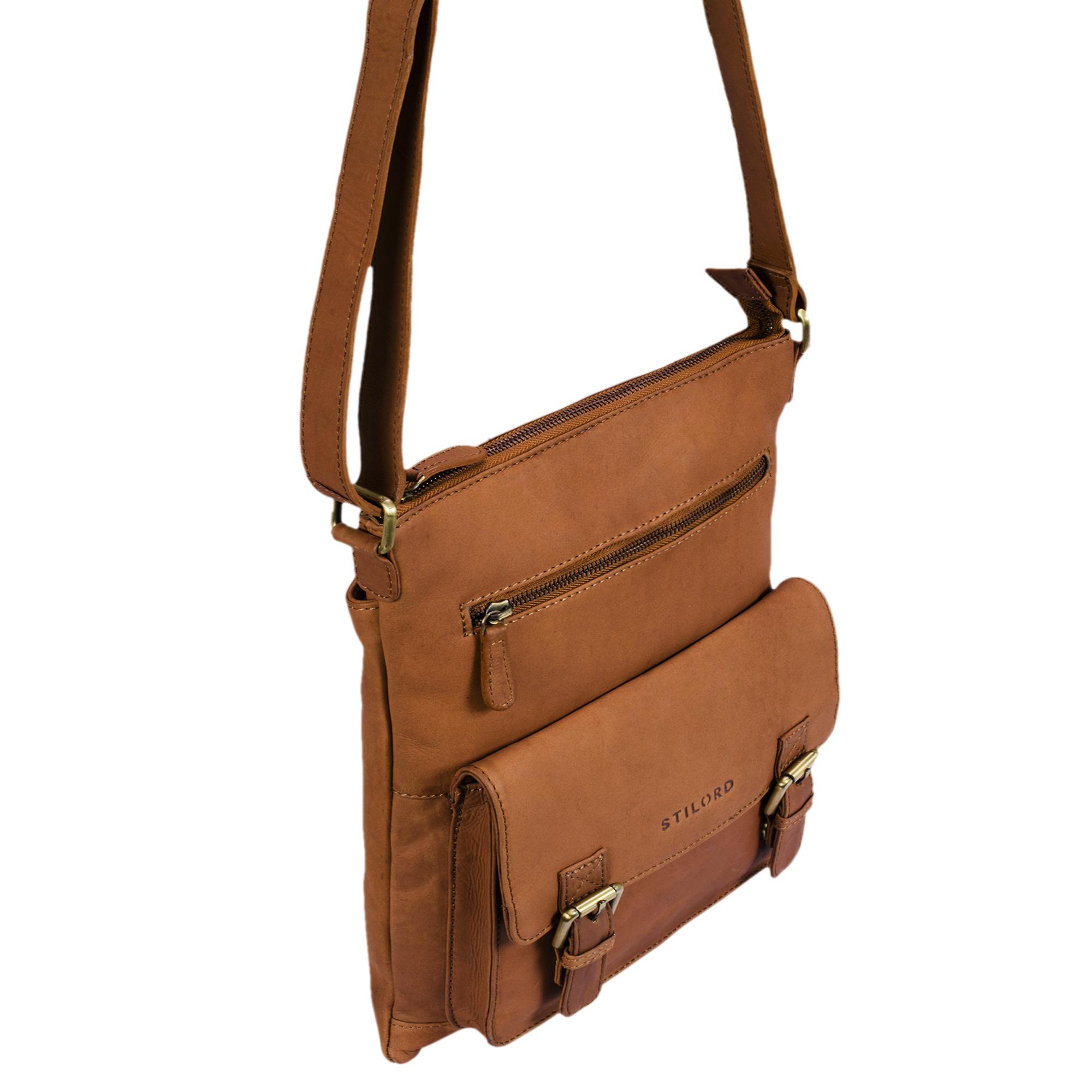 """STILORD """"Mason"""" Vintage Umhängetasche 13 Zoll für Männer Frauen braune Messenger Bag für DIN A4 Dokumente Schultertasche aus echtem Leder - Bild 13"""