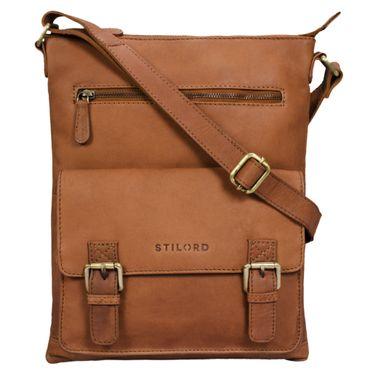 """STILORD """"Mason"""" Vintage Umhängetasche 13 Zoll für Männer Frauen braune Messenger Bag für DIN A4 Dokumente Schultertasche aus echtem Leder – Bild 8"""