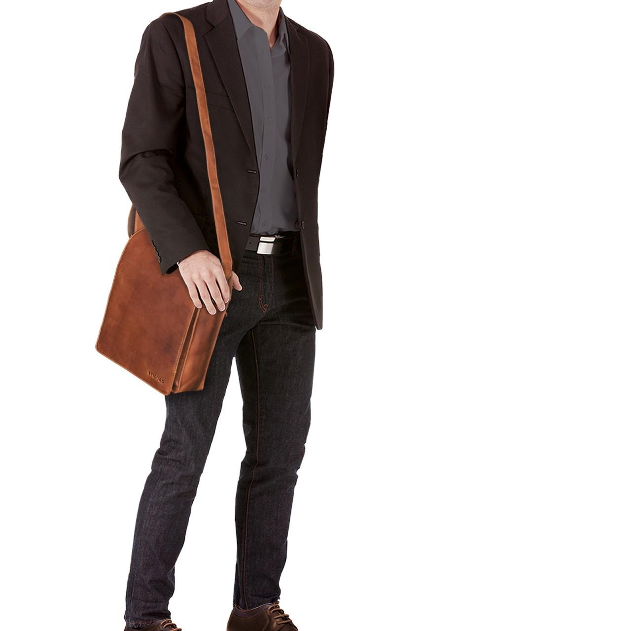 """STILORD B-WARE """"Lars"""" Schultertasche Herren klein 13,3 Zoll Umhängetasche Ledertasche Vintage Messengertasche Leder Freizeittasche - Bild 2"""