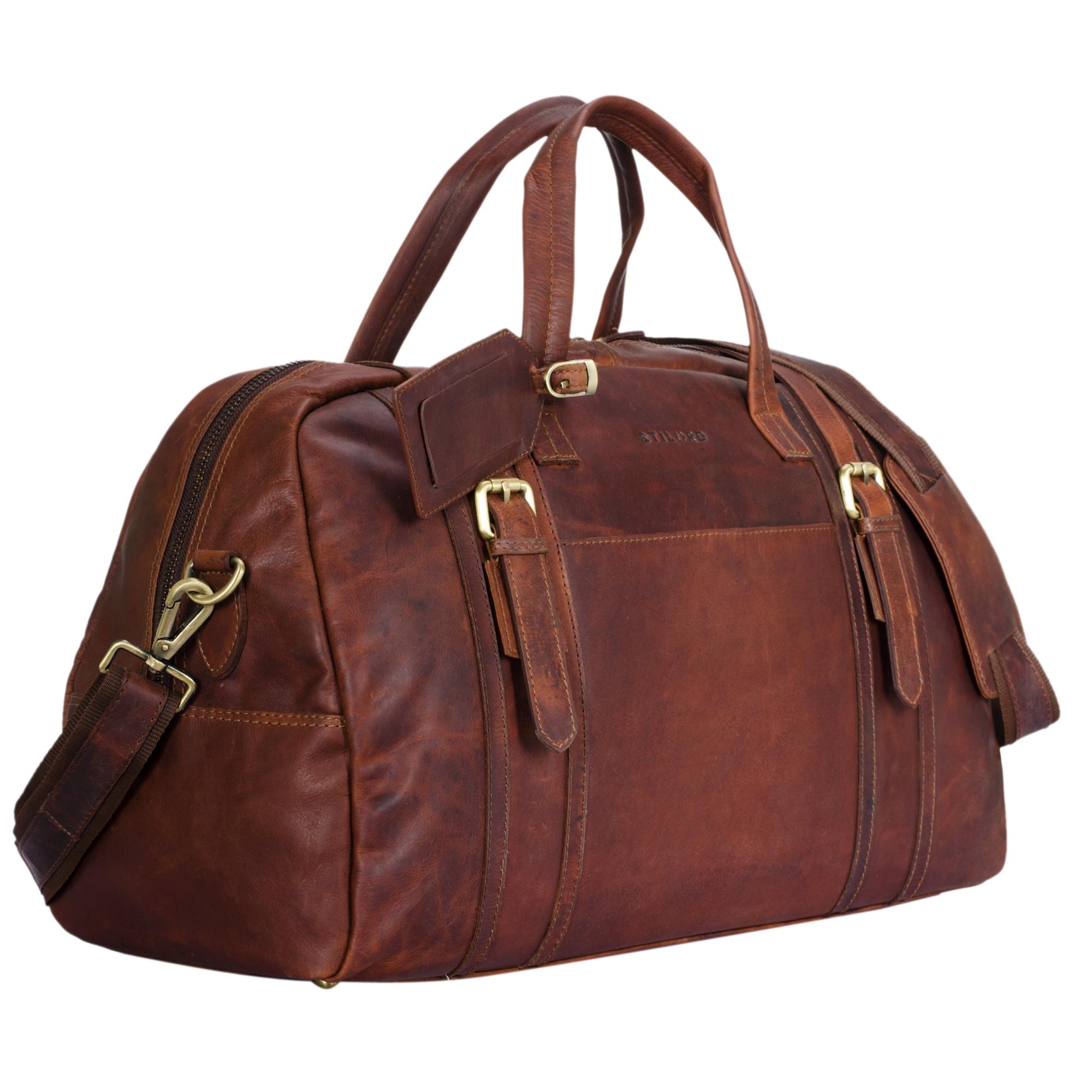 """STILORD """"Georgia"""" Große Reisetasche Vintage Leder mit Tragegriff und Schultergurt Reisegepäck Handgepäck in Kabinengröße aus echtem Büffel Leder - Bild 8"""