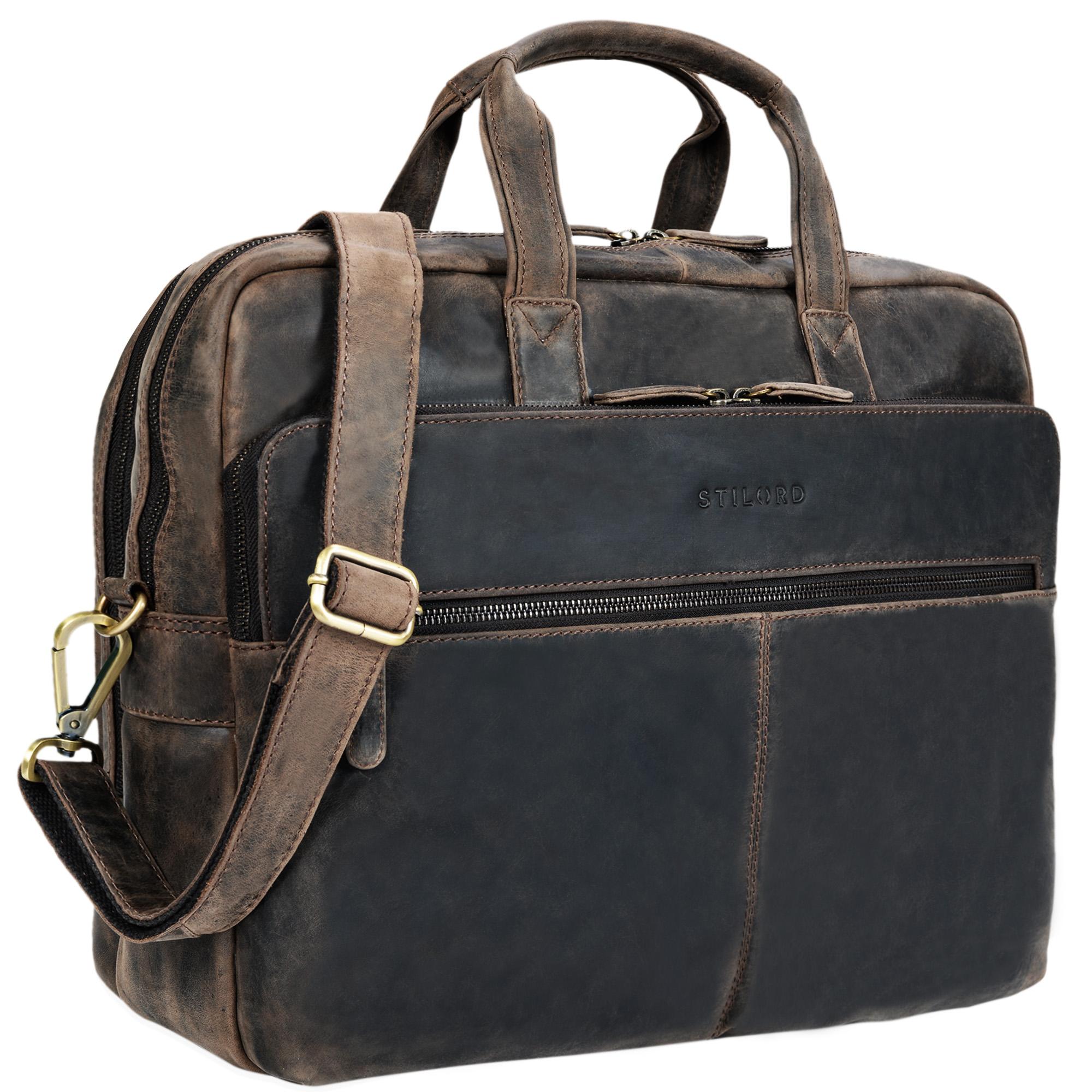 """STILORD """"William"""" Businesstasche Leder groß XL Lehrertasche Aktentasche 15,6 Zoll Laptoptasche Bürotasche Ledertasche Vintage Umhängetasche Echtleder - Bild 9"""