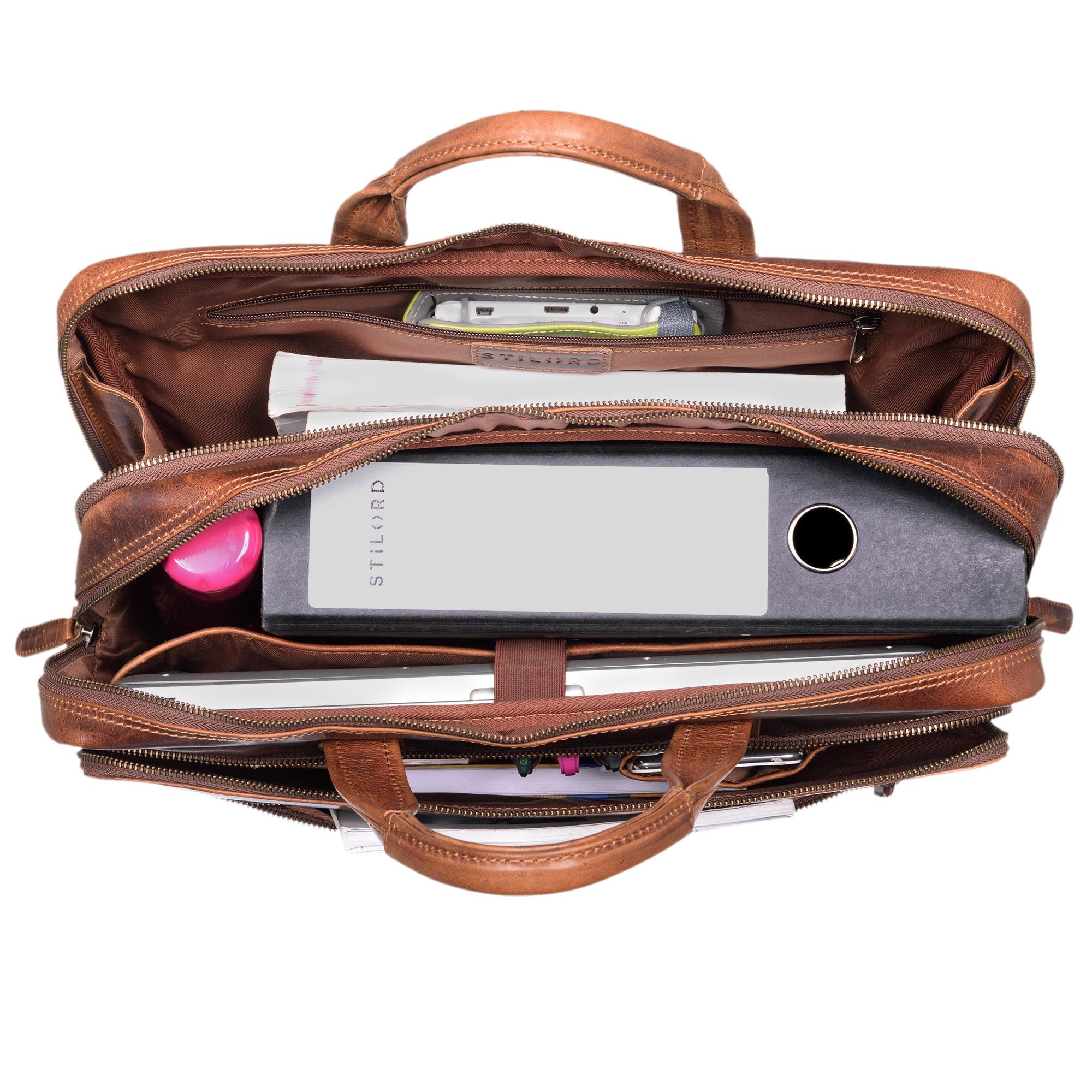 """STILORD """"William"""" Businesstasche Leder groß XL Lehrertasche Aktentasche 15,6 Zoll Laptoptasche Bürotasche Ledertasche Vintage Umhängetasche Echtleder - Bild 5"""