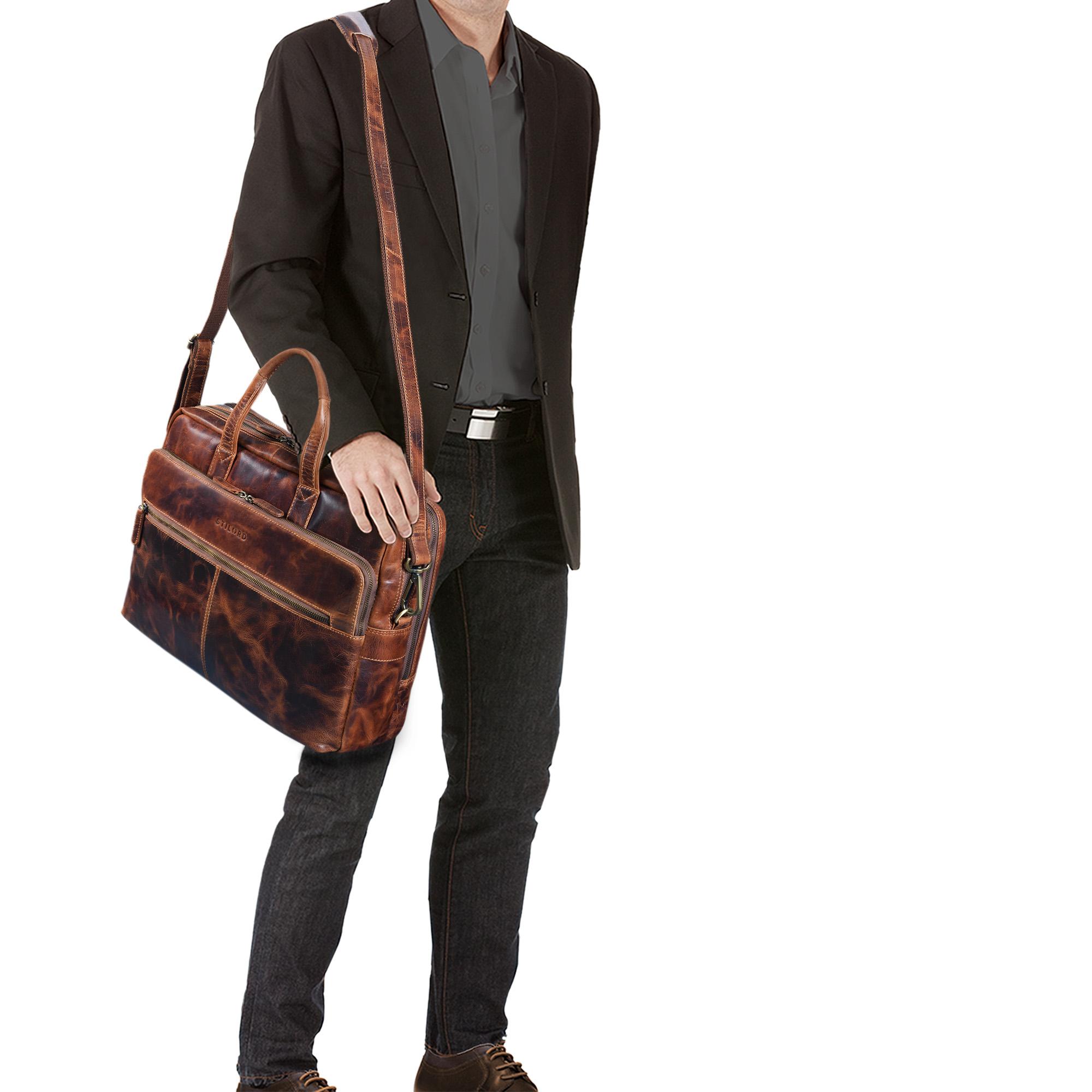 """STILORD """"William"""" Businesstasche Leder groß XL Lehrertasche Aktentasche 15,6 Zoll Laptoptasche Bürotasche Ledertasche Vintage Umhängetasche Echtleder - Bild 2"""
