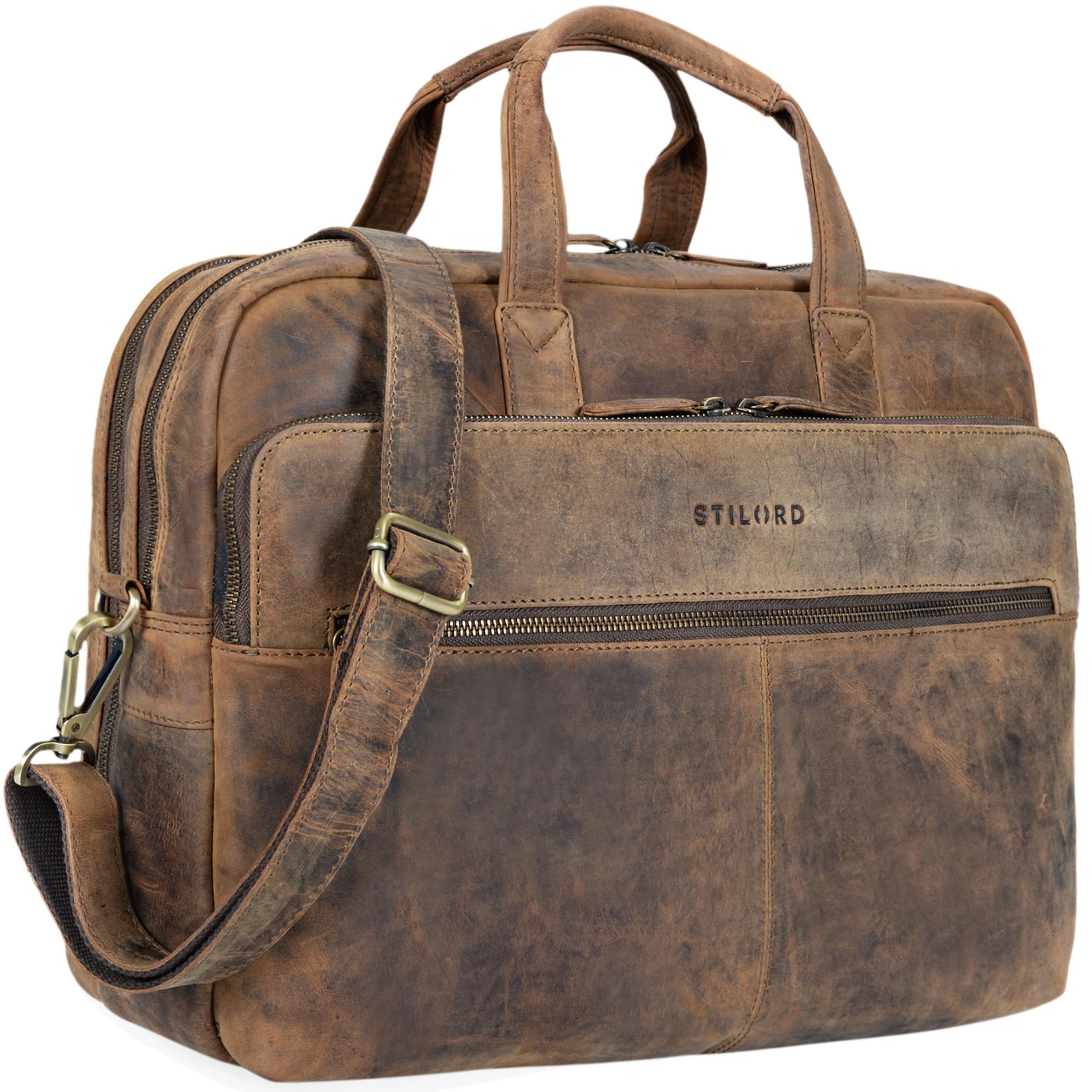 """STILORD """"William"""" Businesstasche Leder groß XL Lehrertasche Aktentasche 15,6 Zoll Laptoptasche Bürotasche Ledertasche Vintage Umhängetasche Echtleder - Bild 8"""