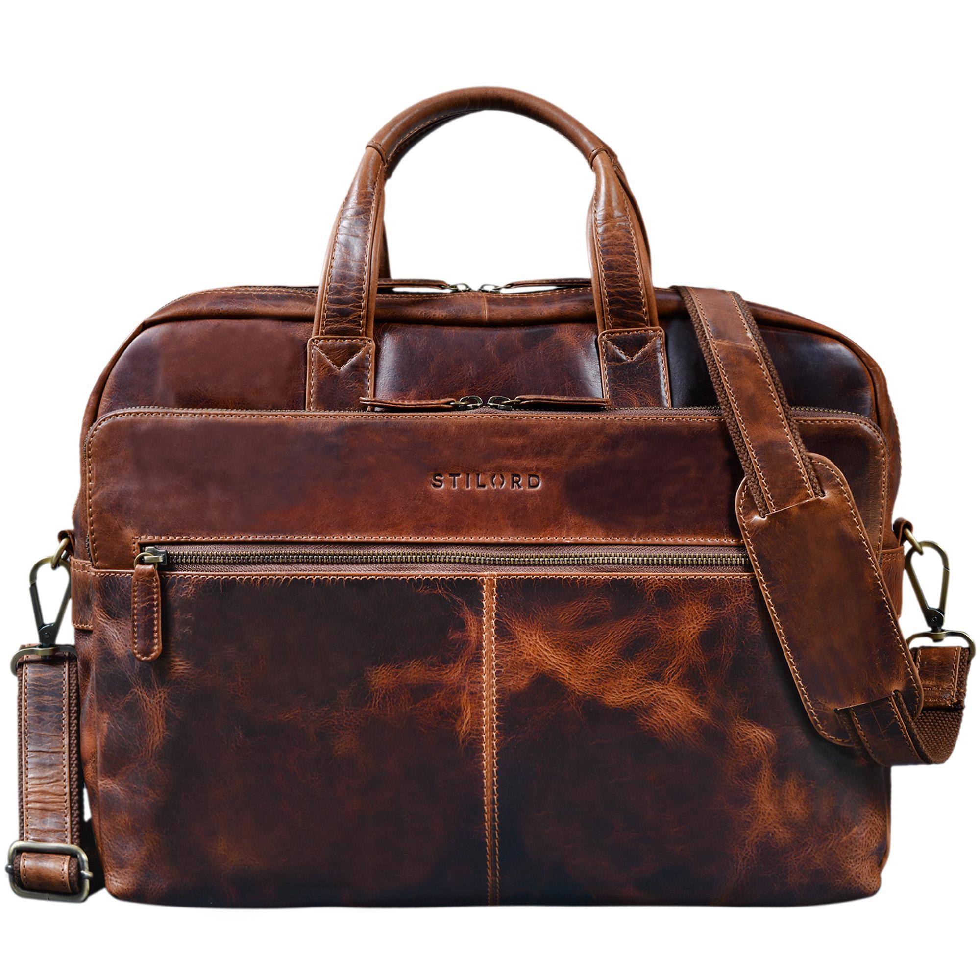 """STILORD """"William"""" Businesstasche Leder groß XL Lehrertasche Aktentasche 15,6 Zoll Laptoptasche Bürotasche Ledertasche Vintage Umhängetasche Echtleder - Bild 3"""