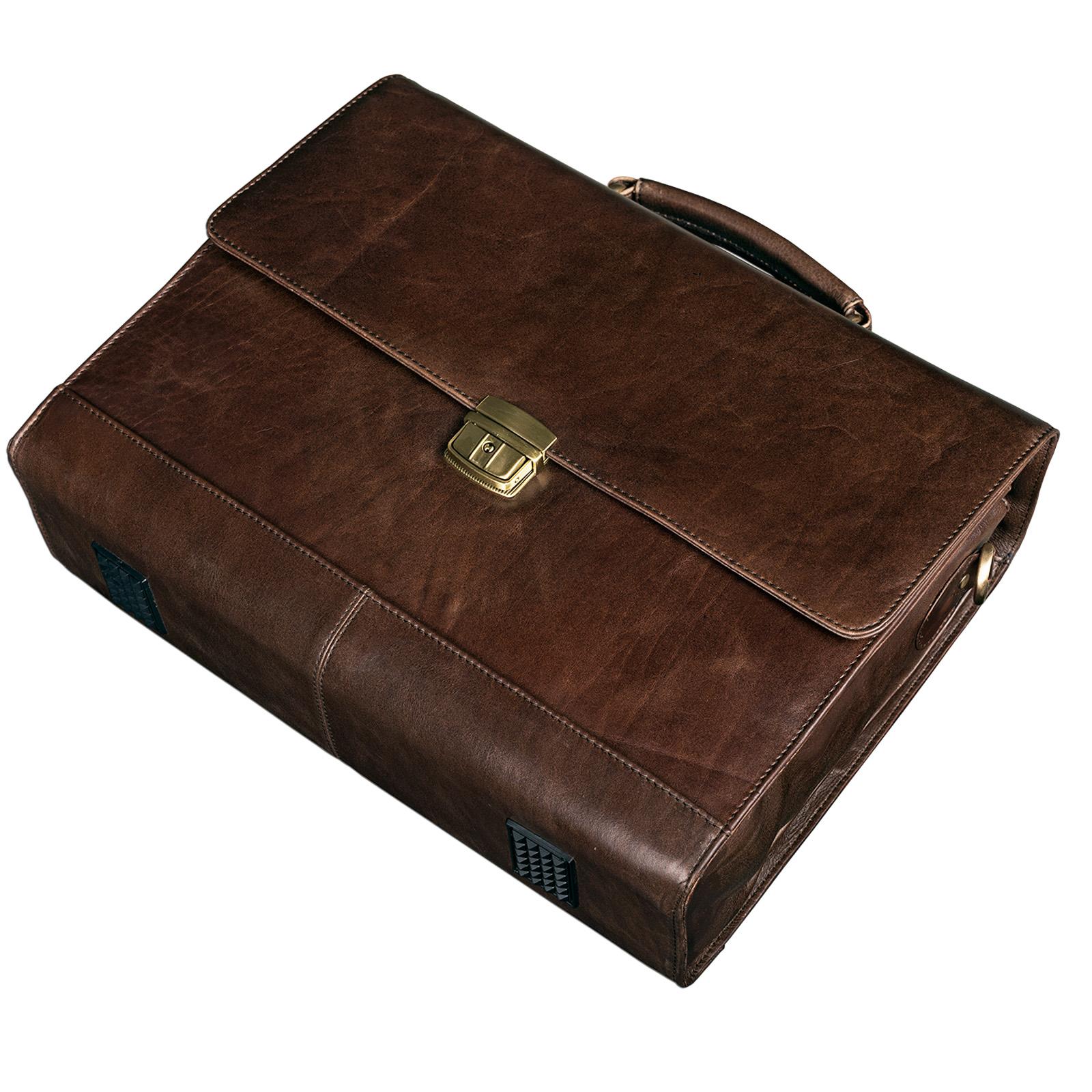 """STILORD B-WARE """"Philipp"""" Aktentasche aus echtem Leder in klassischem Vintage Design mit 15,6 Zoll Laptopfach Dokumententasche Businesstasche Herren Damen - Bild 7"""