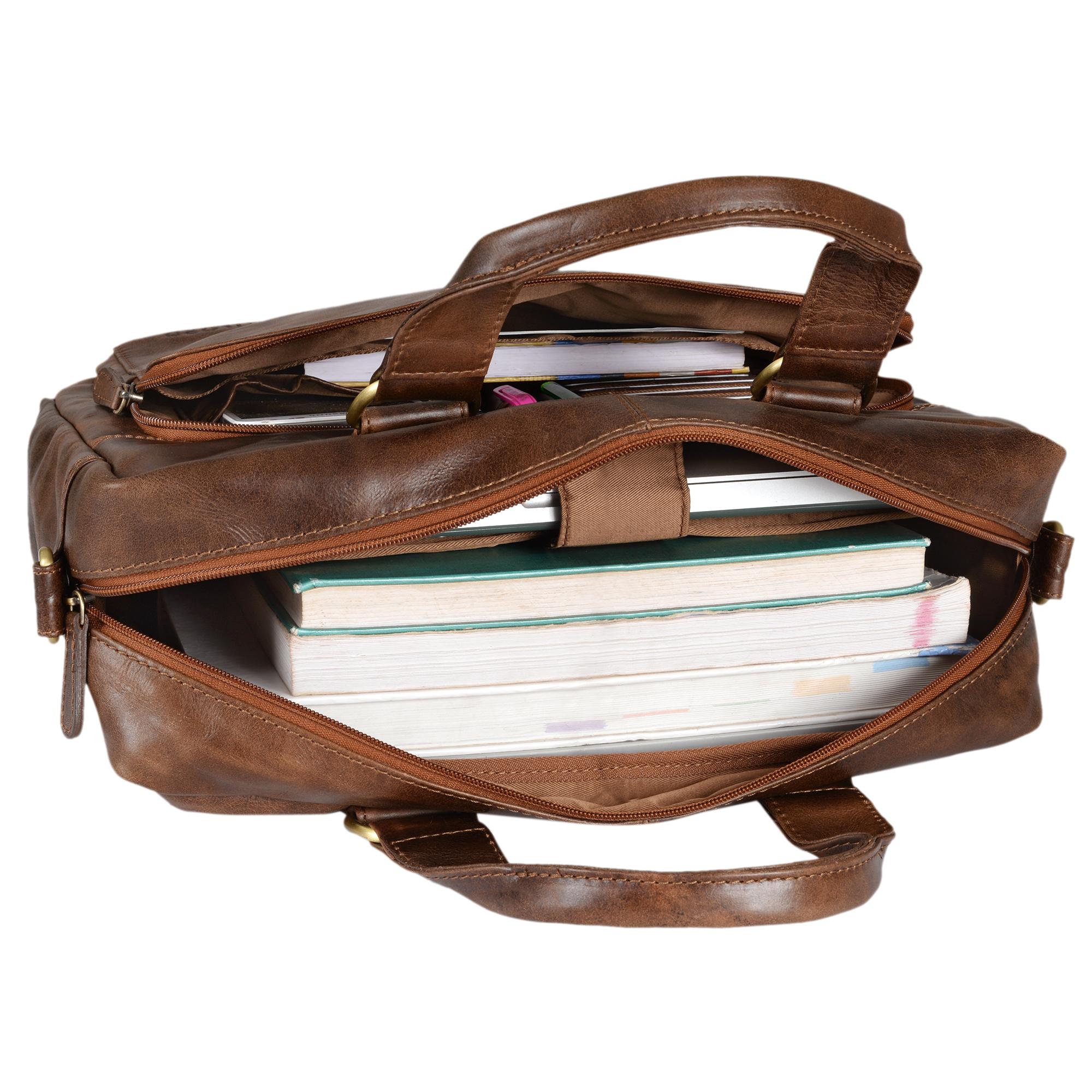 """STILORD """"Jack"""" Ledertasche Aktentasche Herren Vintage Umhängetasche für Büro Business Arbeit 13,3 Zoll Laptoptasche für große DIN A4 Aktenordner echtes Leder - Bild 6"""
