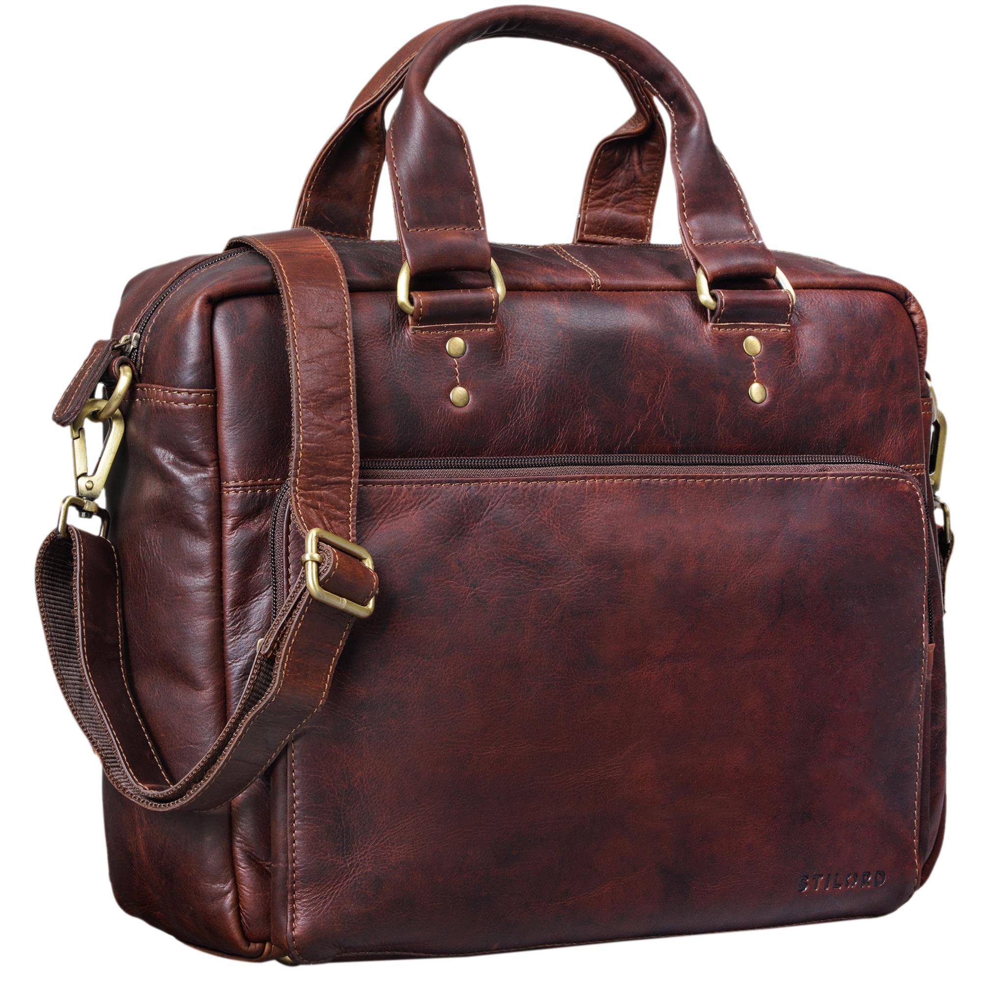 """STILORD """"Jack"""" Ledertasche Aktentasche Herren Vintage Umhängetasche für Büro Business Arbeit 13,3 Zoll Laptoptasche für große DIN A4 Aktenordner echtes Leder - Bild 12"""
