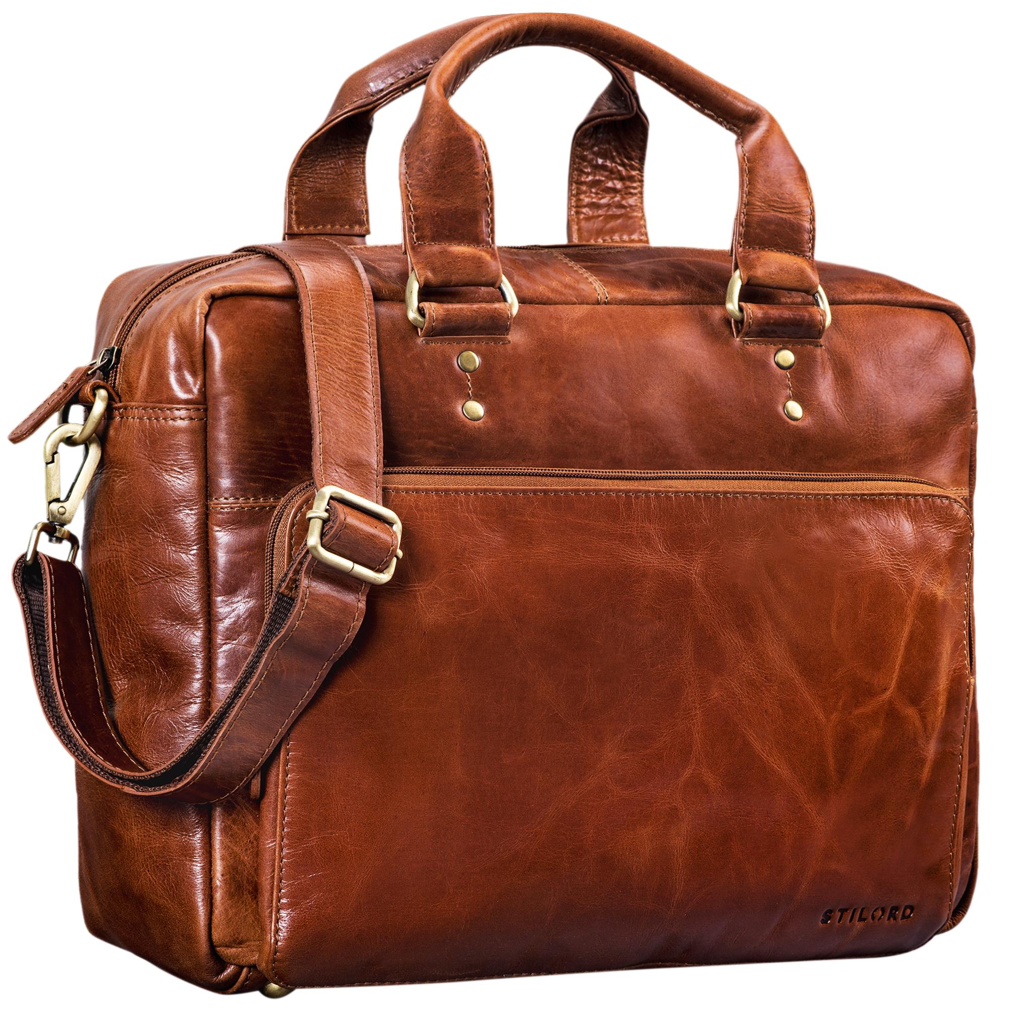 """STILORD """"Jack"""" Ledertasche Aktentasche Herren Vintage Umhängetasche für Büro Business Arbeit 13,3 Zoll Laptoptasche für große DIN A4 Aktenordner echtes Leder - Bild 10"""