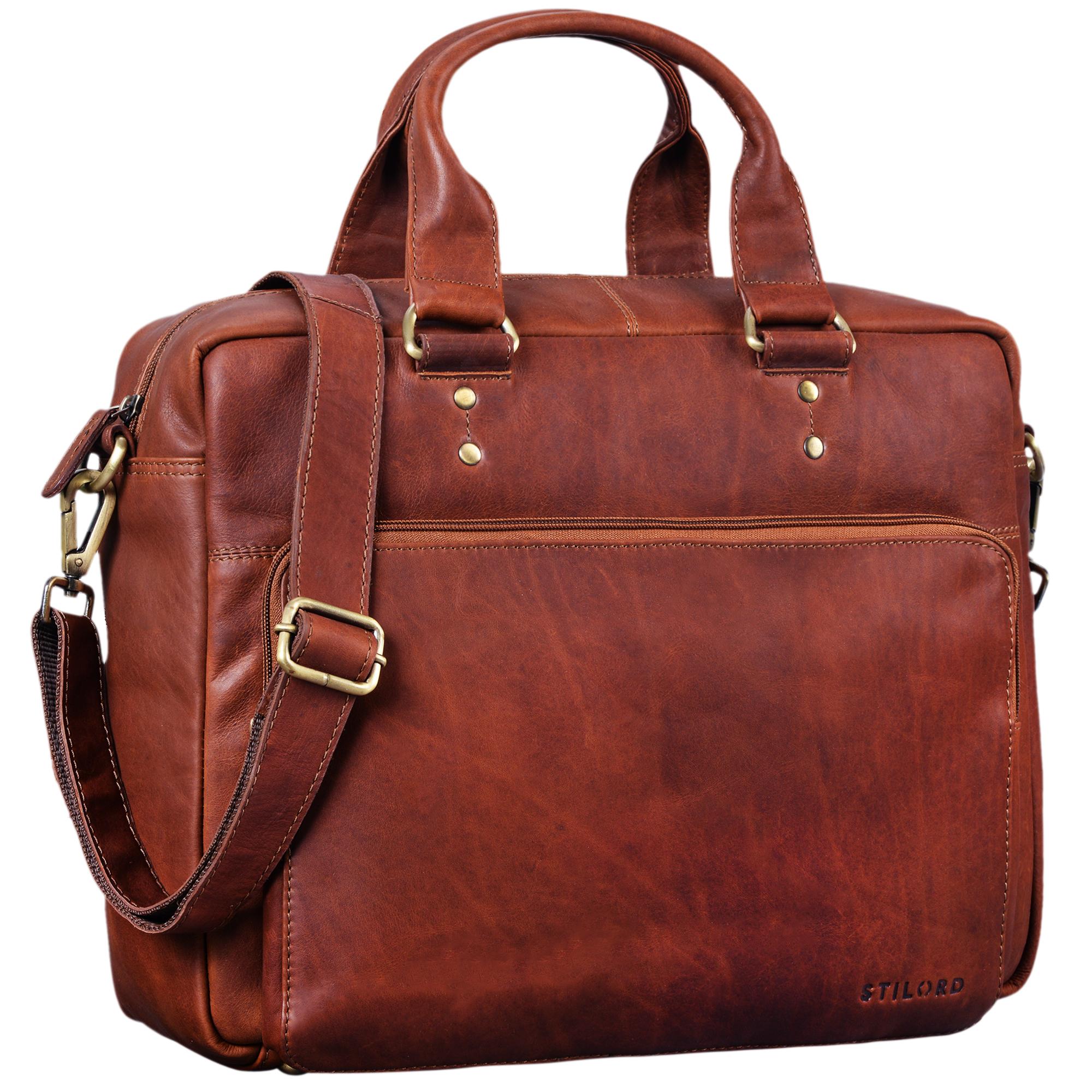 """STILORD """"Jack"""" Ledertasche Aktentasche Herren Vintage Umhängetasche für Büro Business Arbeit 13,3 Zoll Laptoptasche für große DIN A4 Aktenordner echtes Leder - Bild 11"""