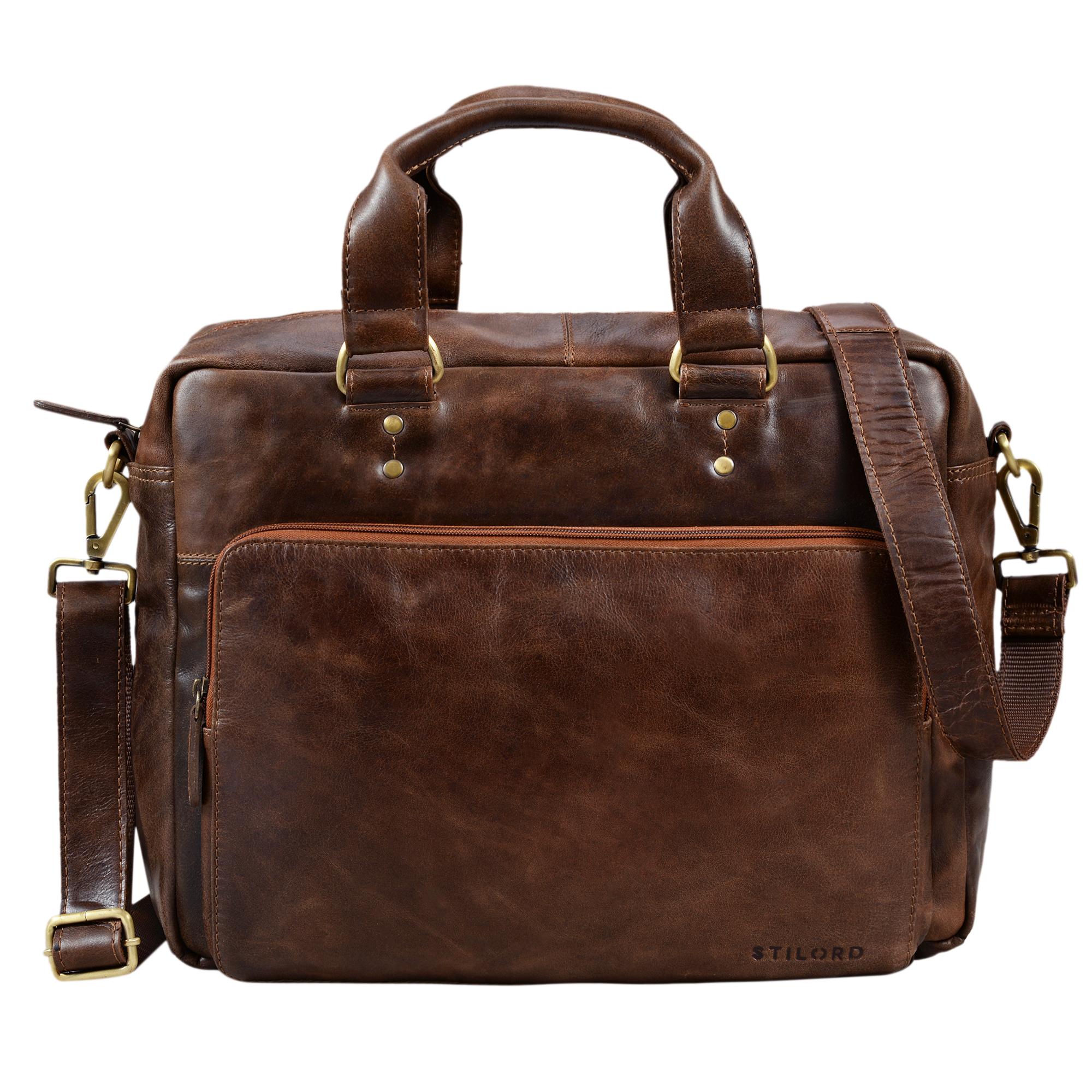 """STILORD """"Jack"""" Ledertasche Aktentasche Herren Vintage Umhängetasche für Büro Business Arbeit 13,3 Zoll Laptoptasche für große DIN A4 Aktenordner echtes Leder - Bild 3"""