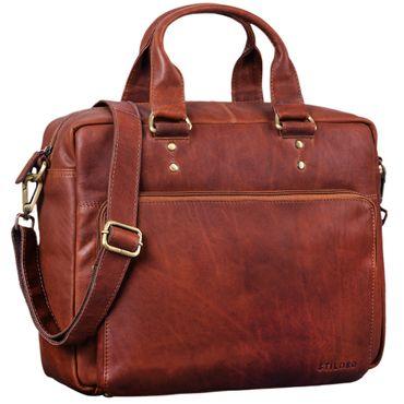 """STILORD """"Jack"""" Ledertasche Aktentasche Herren Vintage Umhängetasche für Büro Business Arbeit 13,3 Zoll Laptoptasche für große DIN A4 Aktenordner echtes Leder – Bild 11"""