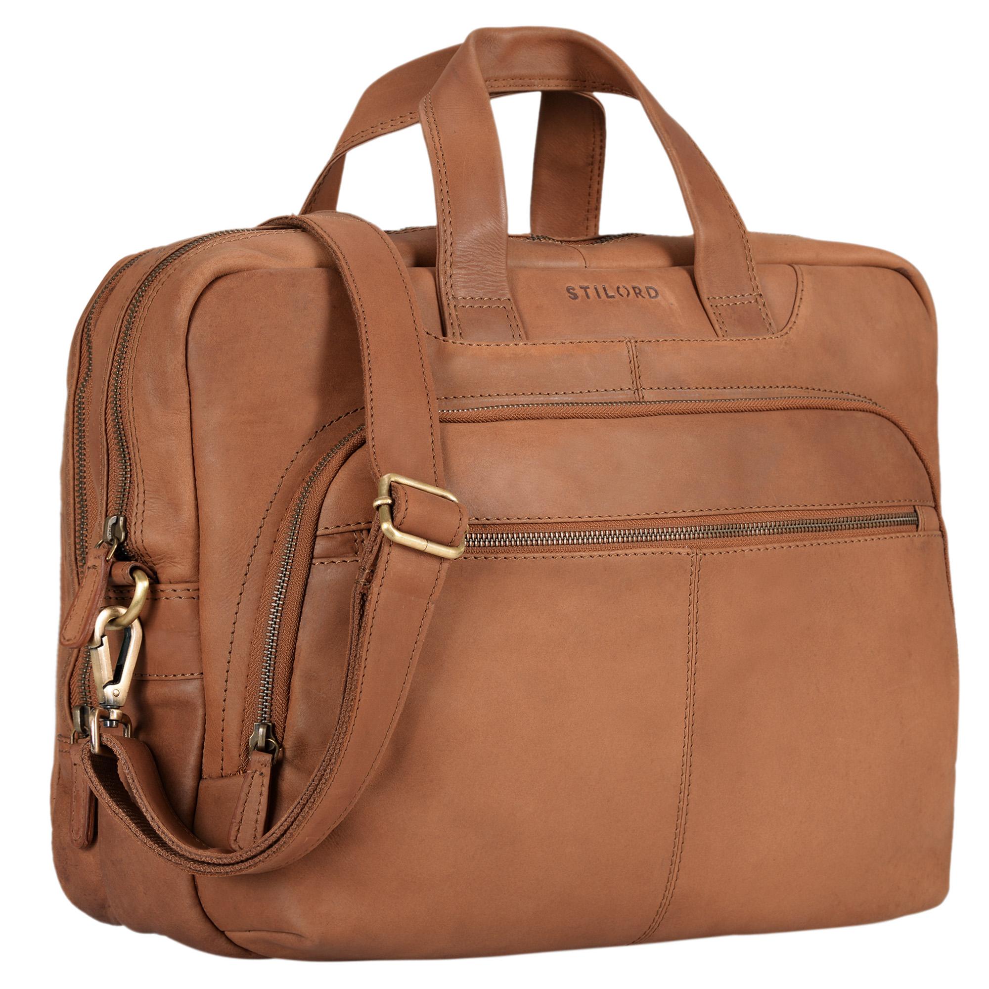 """STILORD """"Alan"""" Leder Umhängetasche groß Herren Damen Vintage 15,6 Zoll Laptoptasche XL Arbeitstasche Lehrertasche Arbeit Büro Uni echtes Leder  - Bild 8"""