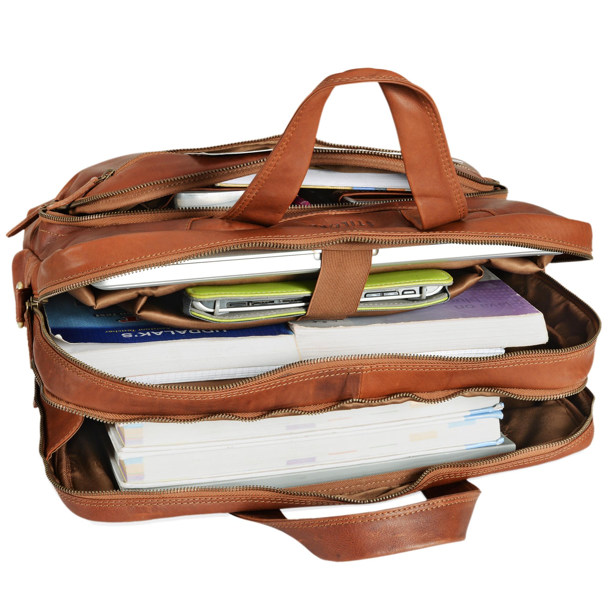 """STILORD """"Alan"""" Leder Umhängetasche groß Herren Damen Vintage 15,6 Zoll Laptoptasche XL Arbeitstasche Lehrertasche Arbeit Büro Uni echtes Leder  - Bild 7"""