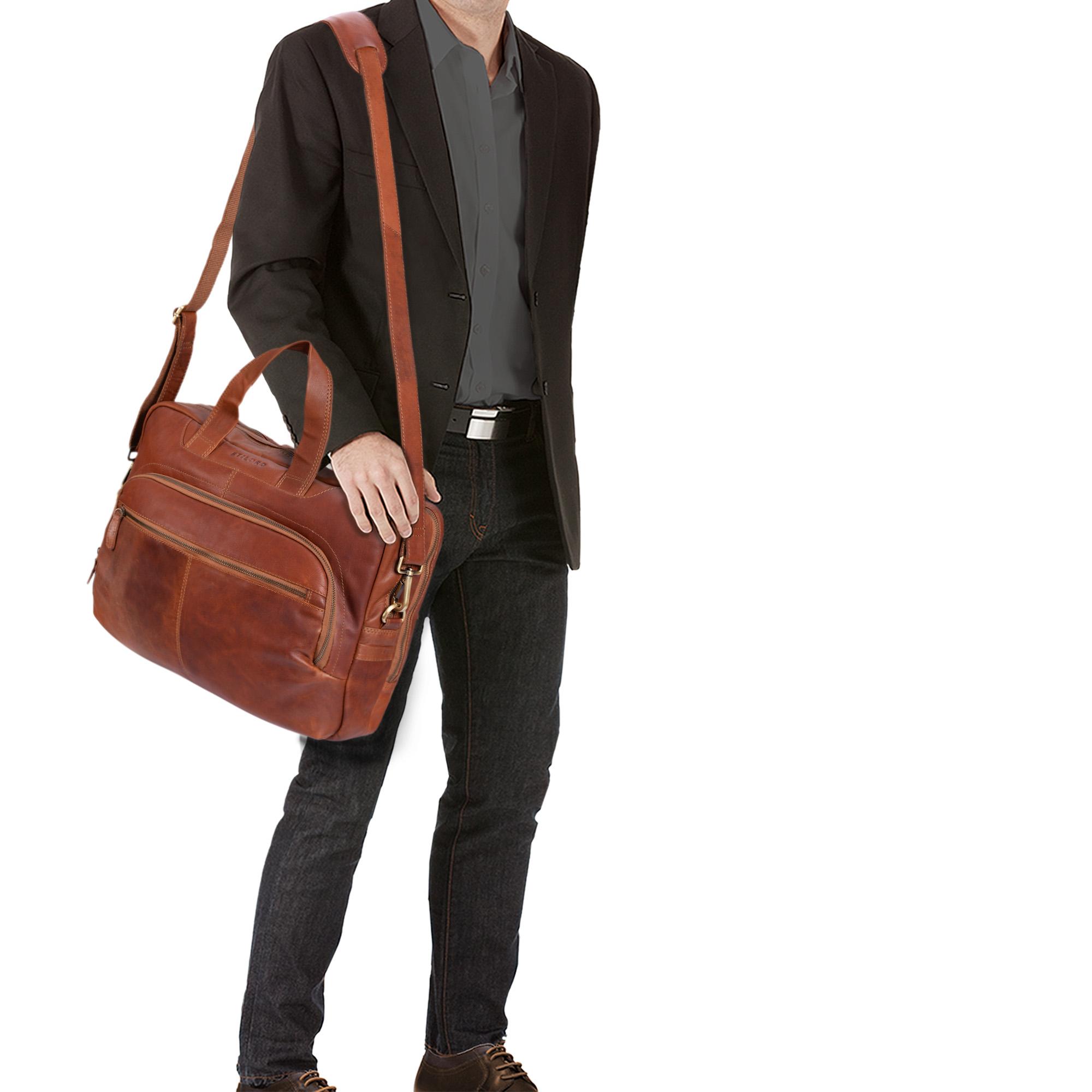 """STILORD """"Alan"""" Leder Umhängetasche groß Herren Damen Vintage 15,6 Zoll Laptoptasche XL Arbeitstasche Lehrertasche Arbeit Büro Uni echtes Leder  - Bild 2"""