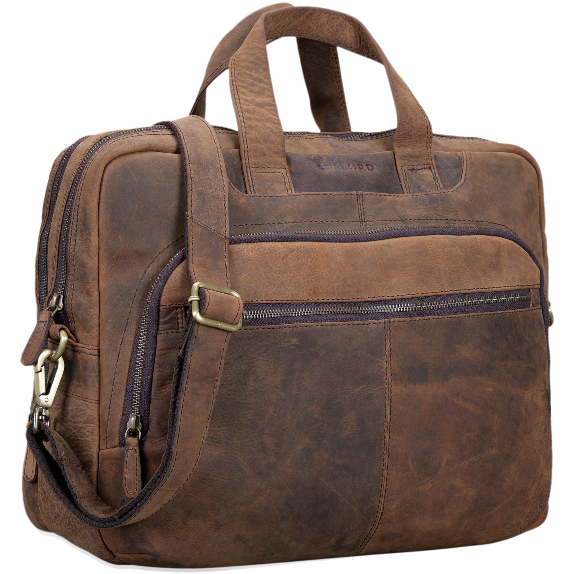 """STILORD """"Alan"""" Leder Umhängetasche groß Herren Damen Vintage 15,6 Zoll Laptoptasche XL Arbeitstasche Lehrertasche Arbeit Büro Uni echtes Leder  - Bild 10"""