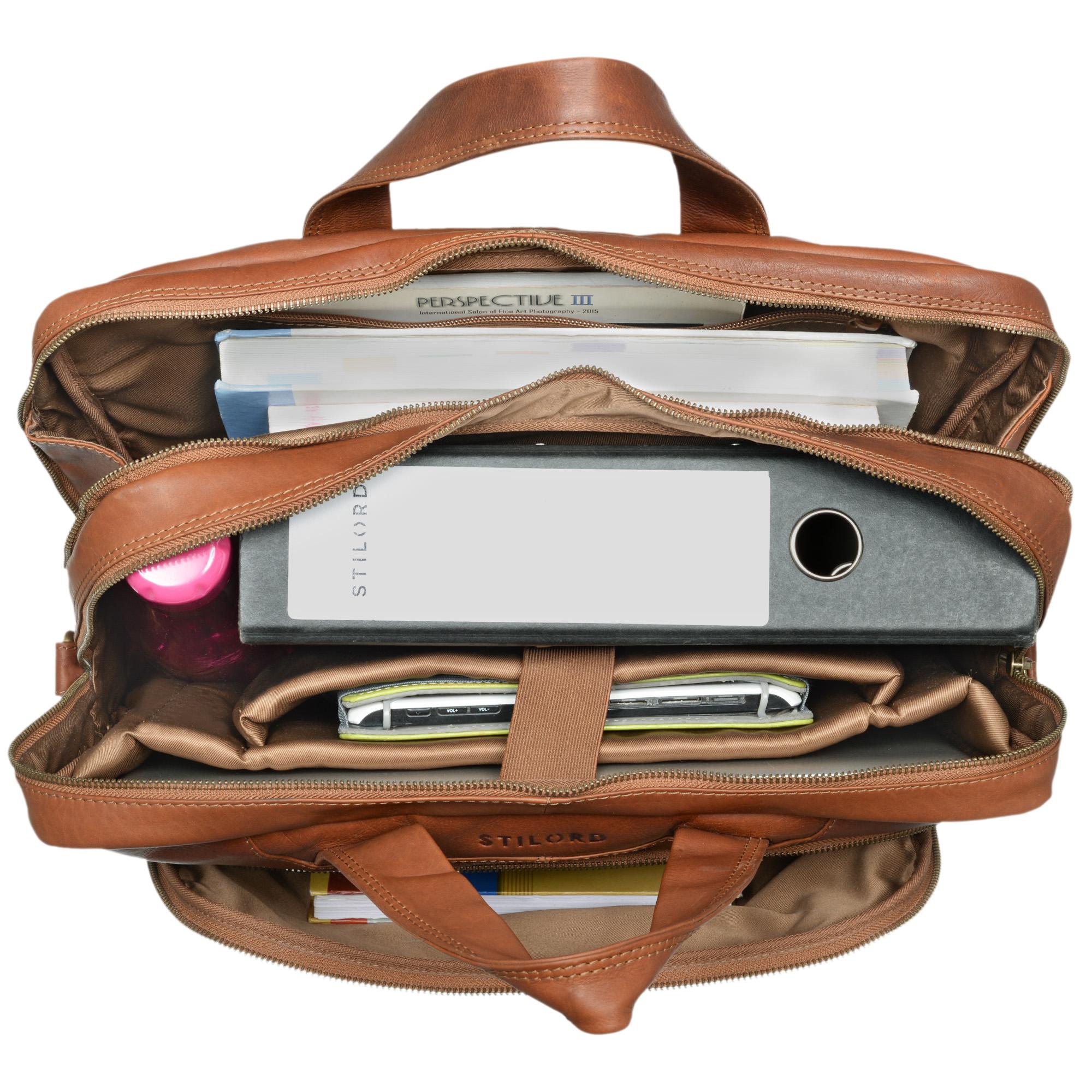 """STILORD """"Alan"""" Leder Umhängetasche groß Herren Damen Vintage 15,6 Zoll Laptoptasche XL Arbeitstasche Lehrertasche Arbeit Büro Uni echtes Leder  - Bild 5"""