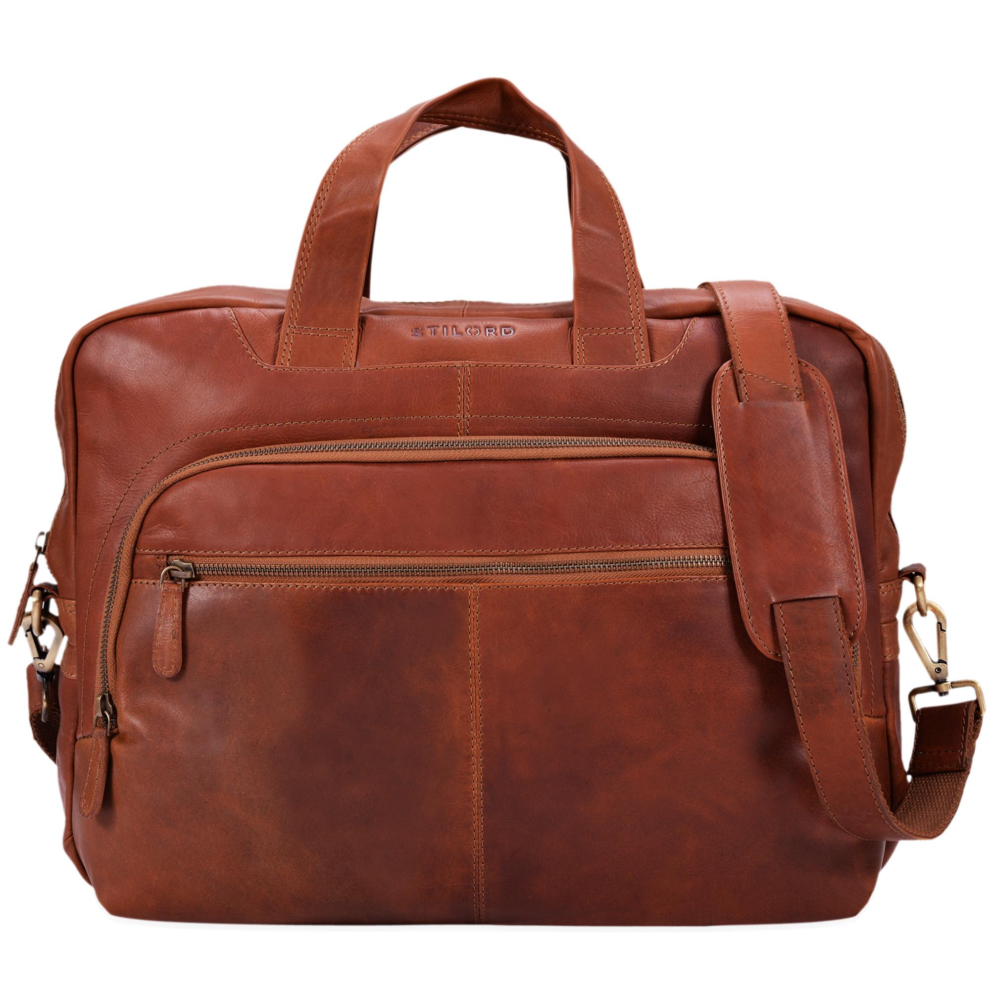 """STILORD """"Alan"""" Leder Umhängetasche groß Herren Damen Vintage 15,6 Zoll Laptoptasche XL Arbeitstasche Lehrertasche Arbeit Büro Uni echtes Leder  - Bild 3"""
