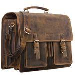 """STILORD """"Anton"""" Aktentasche Leder XL Vintage Lehrertasche mit Laptopfach 15,6 Zoll große Ledertasche zum Umhängen Trolley aufsteckbar"""