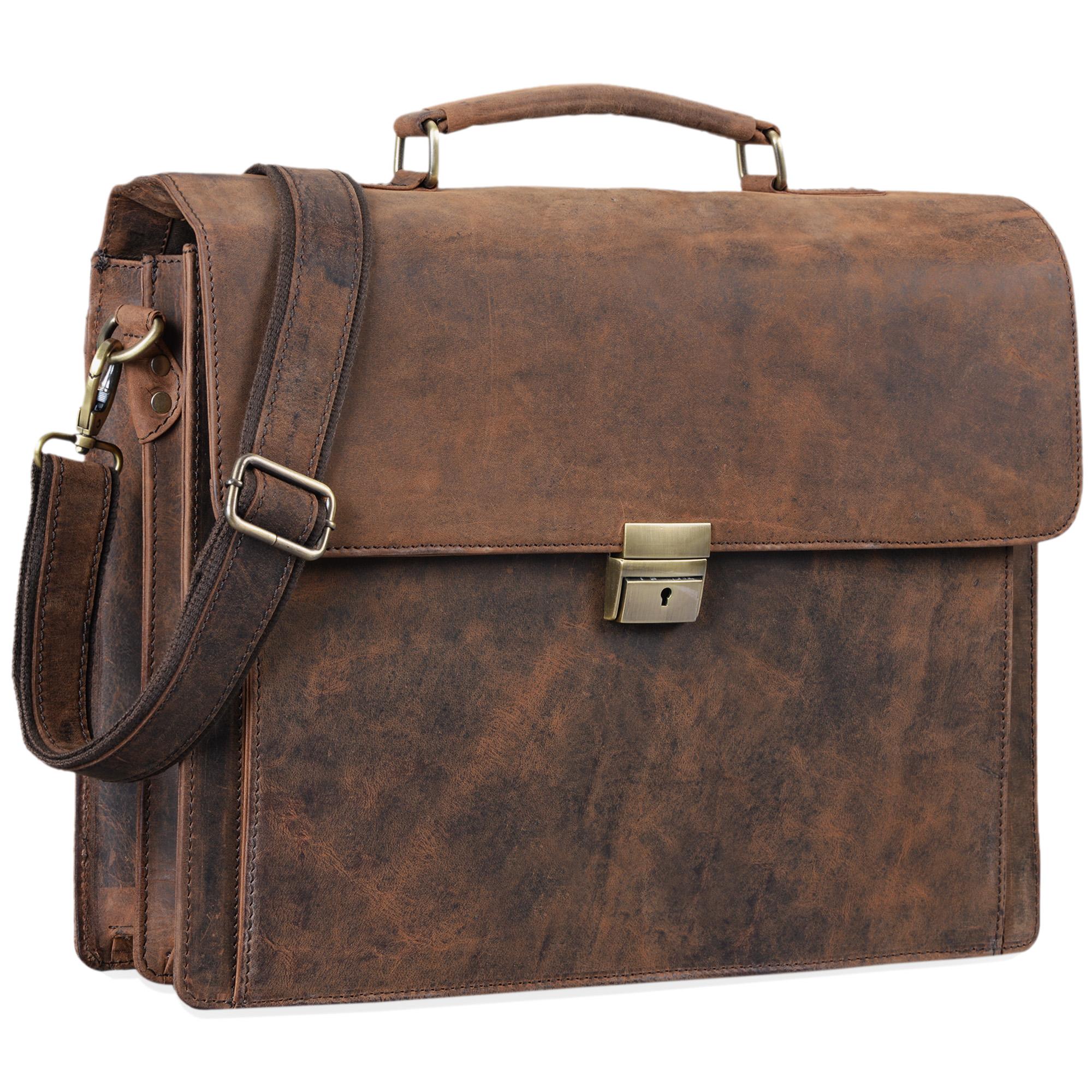 """STILORD """"Johann"""" Klassische Aktentasche Herren Damen Businesstasche für 15,6 Zoll Laptop passend für große DIN A4 Ordner mit Schloss Rinds Leder  - Bild 6"""