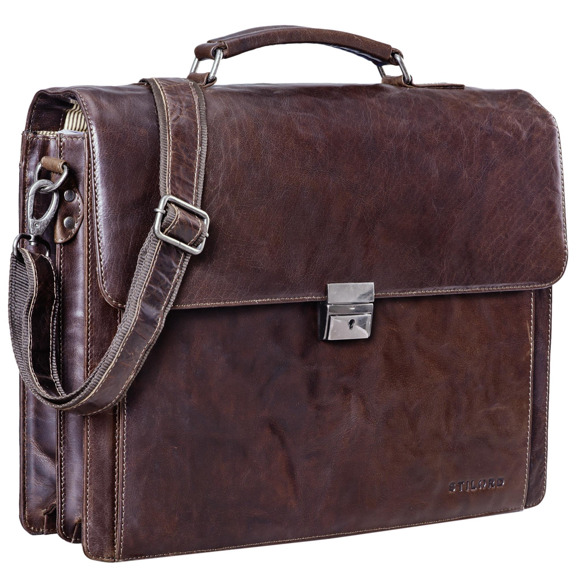 """STILORD """"Johann"""" Klassische Aktentasche Herren Damen Businesstasche für 15,6 Zoll Laptop passend für große DIN A4 Ordner mit Schloss Rinds Leder  - Bild 10"""