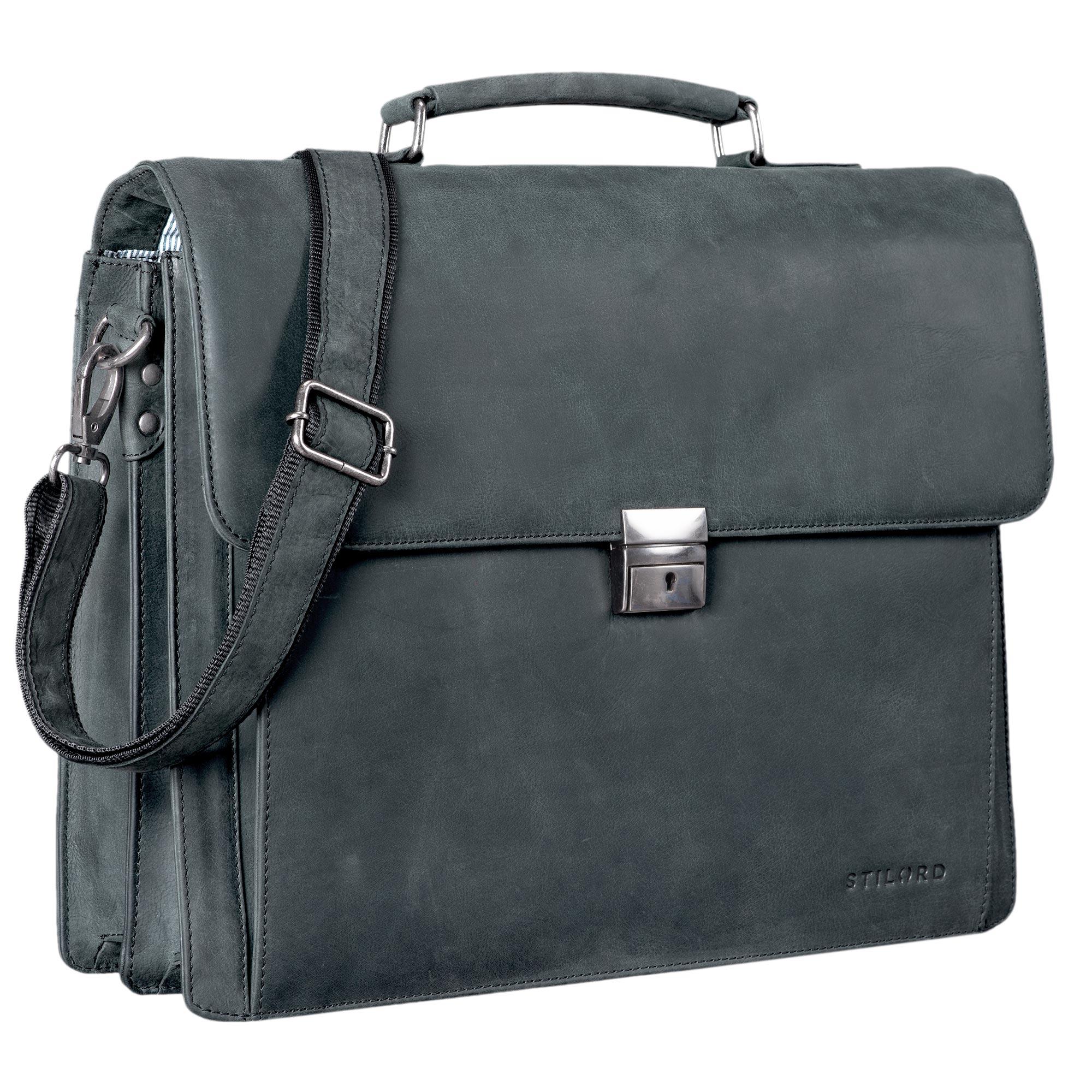 """STILORD """"Johann"""" Klassische Aktentasche Herren Damen Businesstasche für 15,6 Zoll Laptop passend für große DIN A4 Ordner mit Schloss Rinds Leder  - Bild 9"""