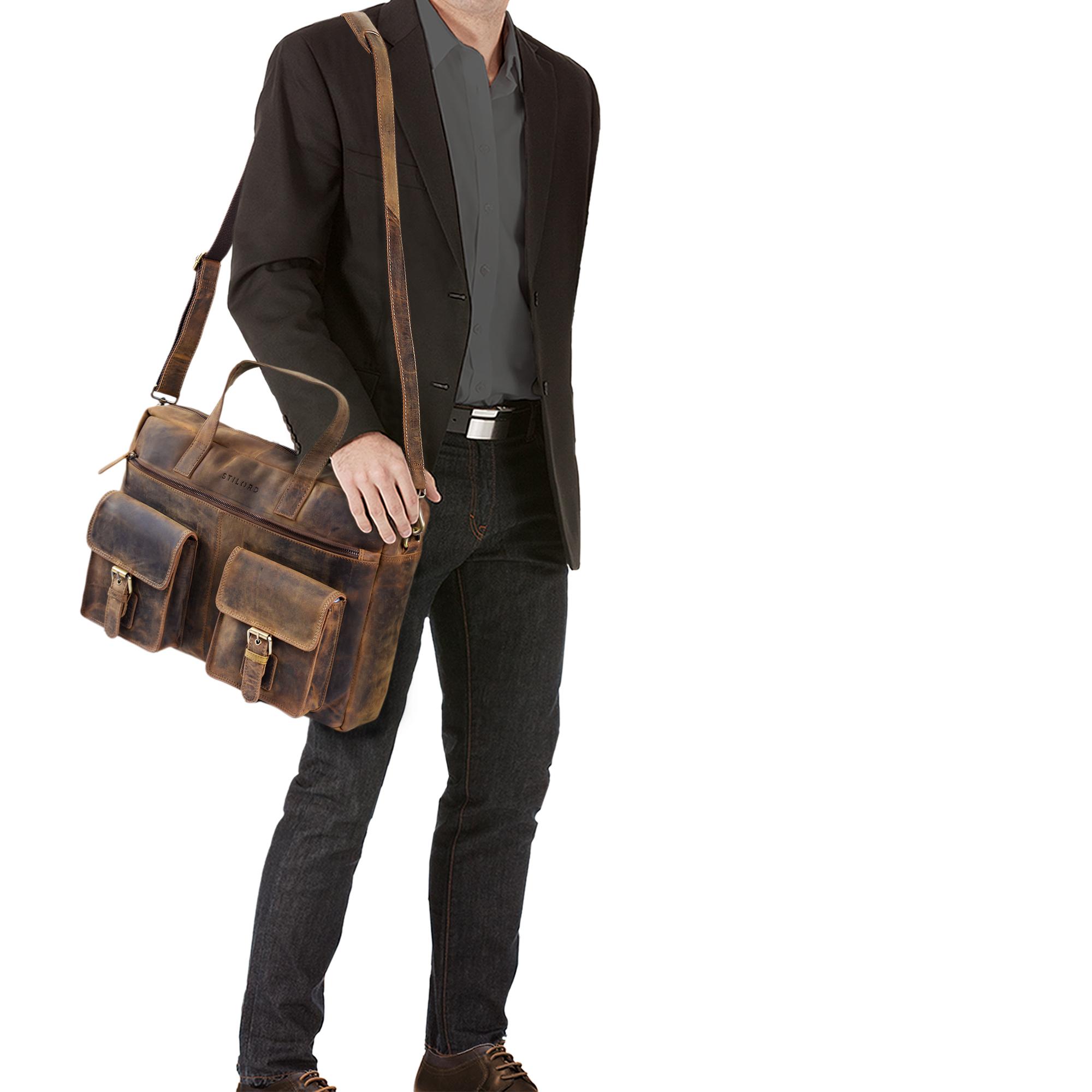 """STILORD """"Ron"""" Vintage Ledertasche 15.6 Zoll Laptopfach große Umhängetasche Herren für Büro Arbeit Uni moderne Aktentasche aus echtem Rinds-Leder - Bild 10"""