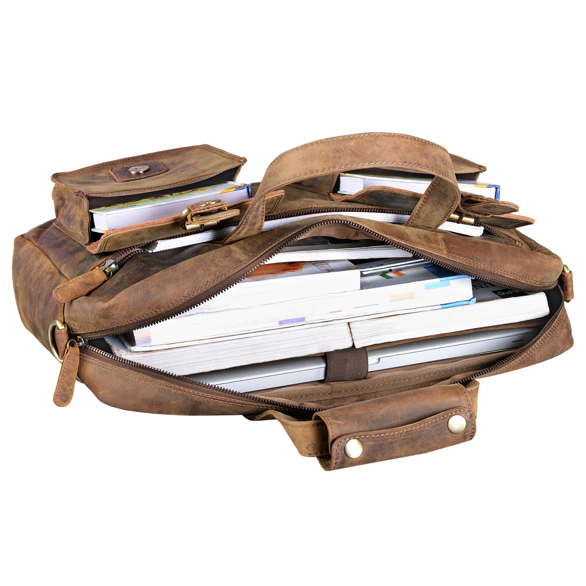 """STILORD """"Ron"""" Vintage Ledertasche 15.6 Zoll Laptopfach große Umhängetasche Herren für Büro Arbeit Uni moderne Aktentasche aus echtem Rinds-Leder - Bild 13"""